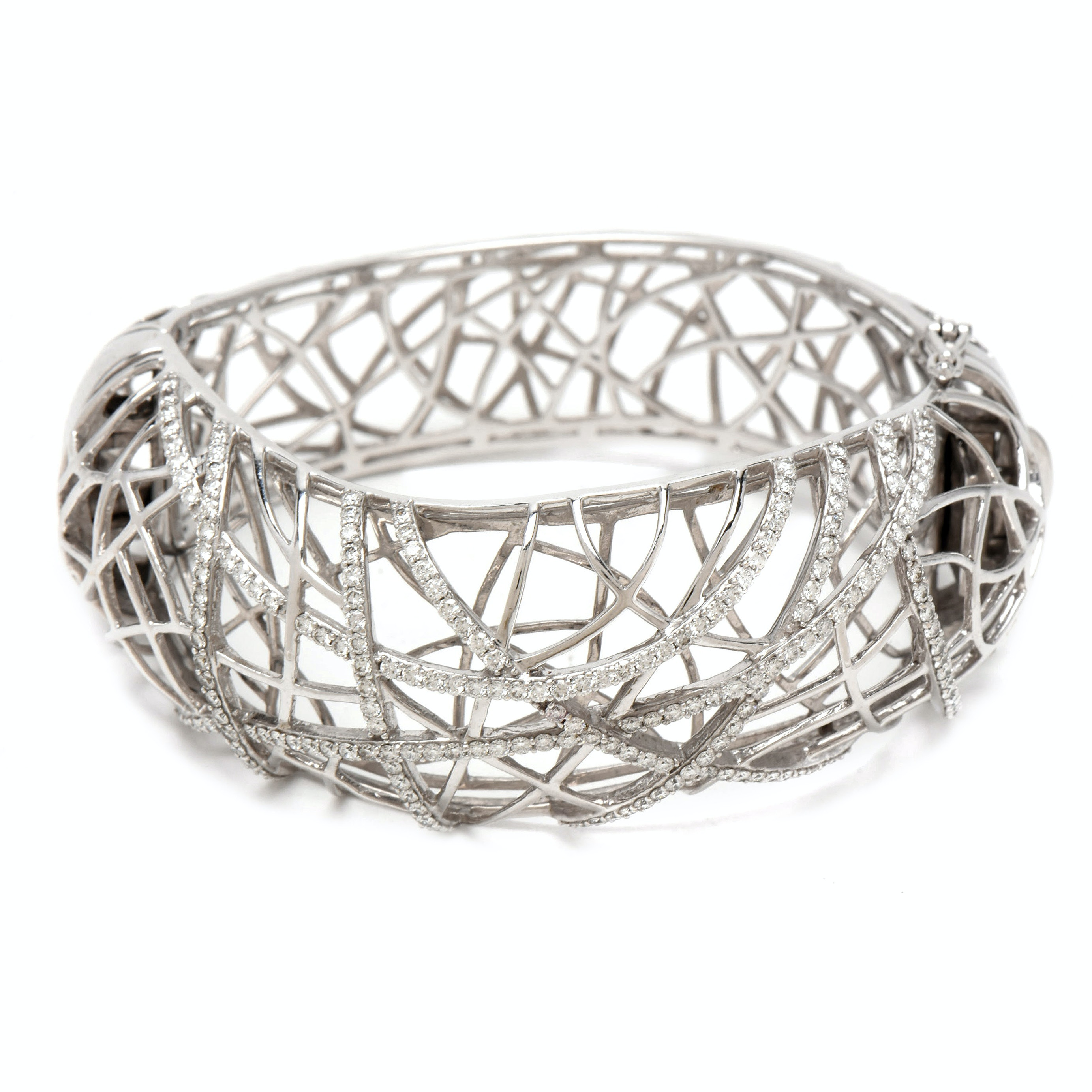 Penny Preville 18K White Gold 2.48 CTW Diamond Cage Bangle Bracelet