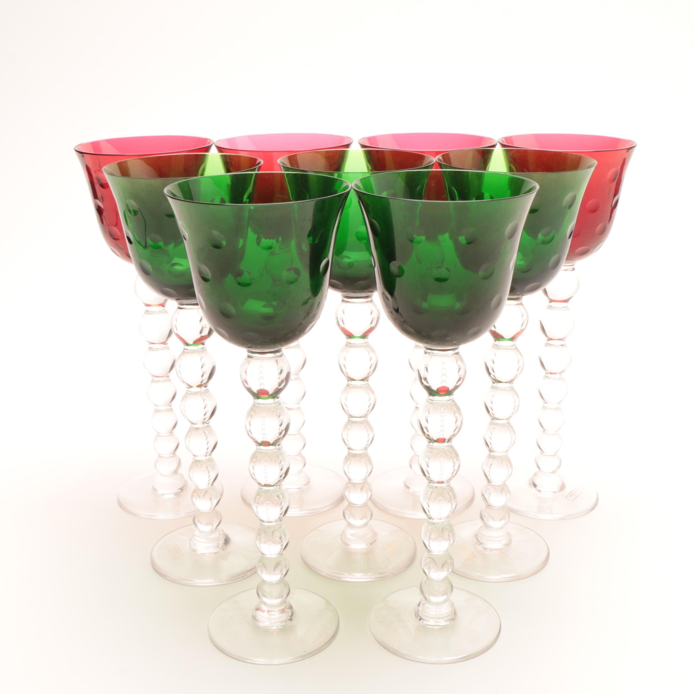 """Saint Louis Crystal """"Bubbles"""" Green and Red Hock Wine Glasses"""