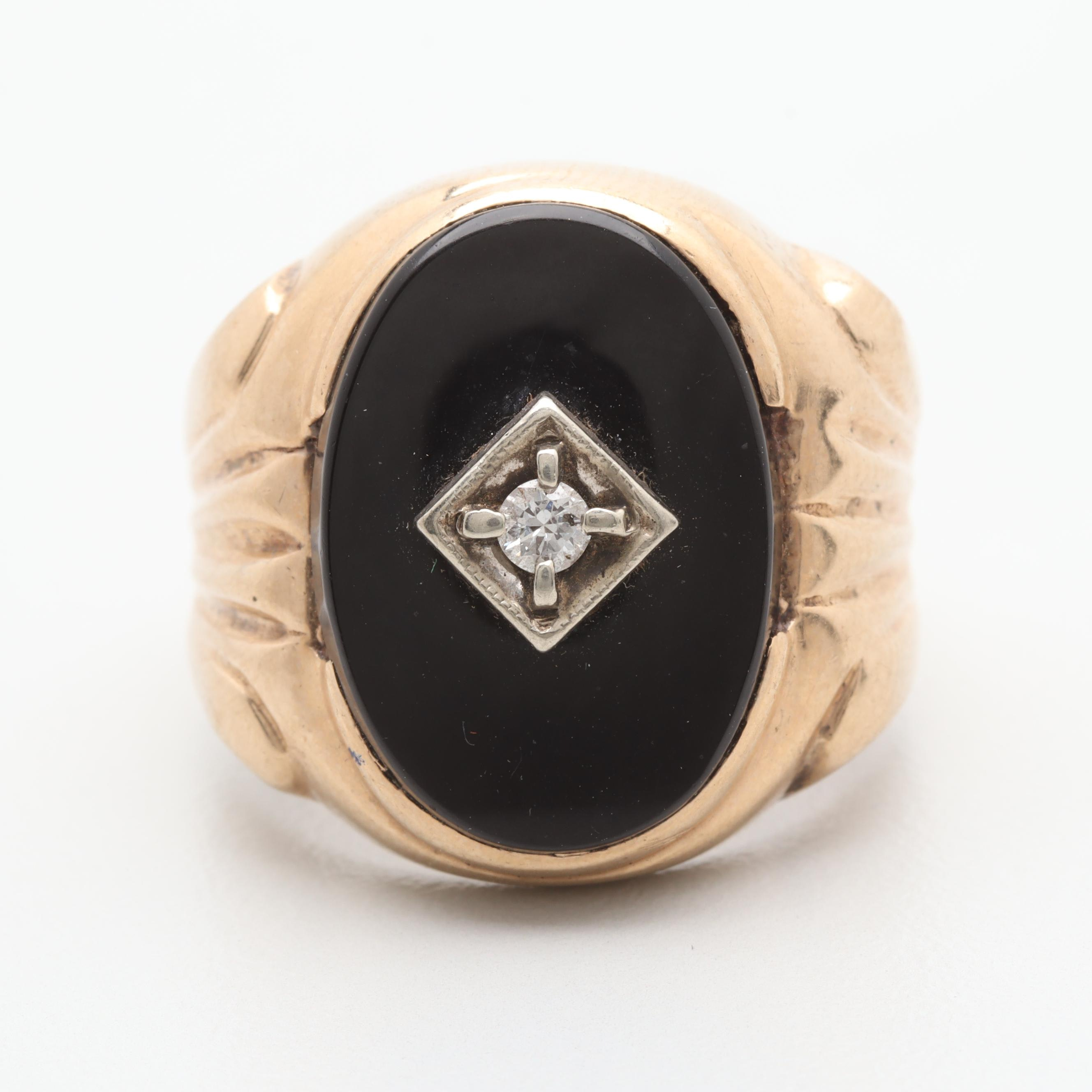 10K Yellow Gold Diamond and Black Onyx Ring