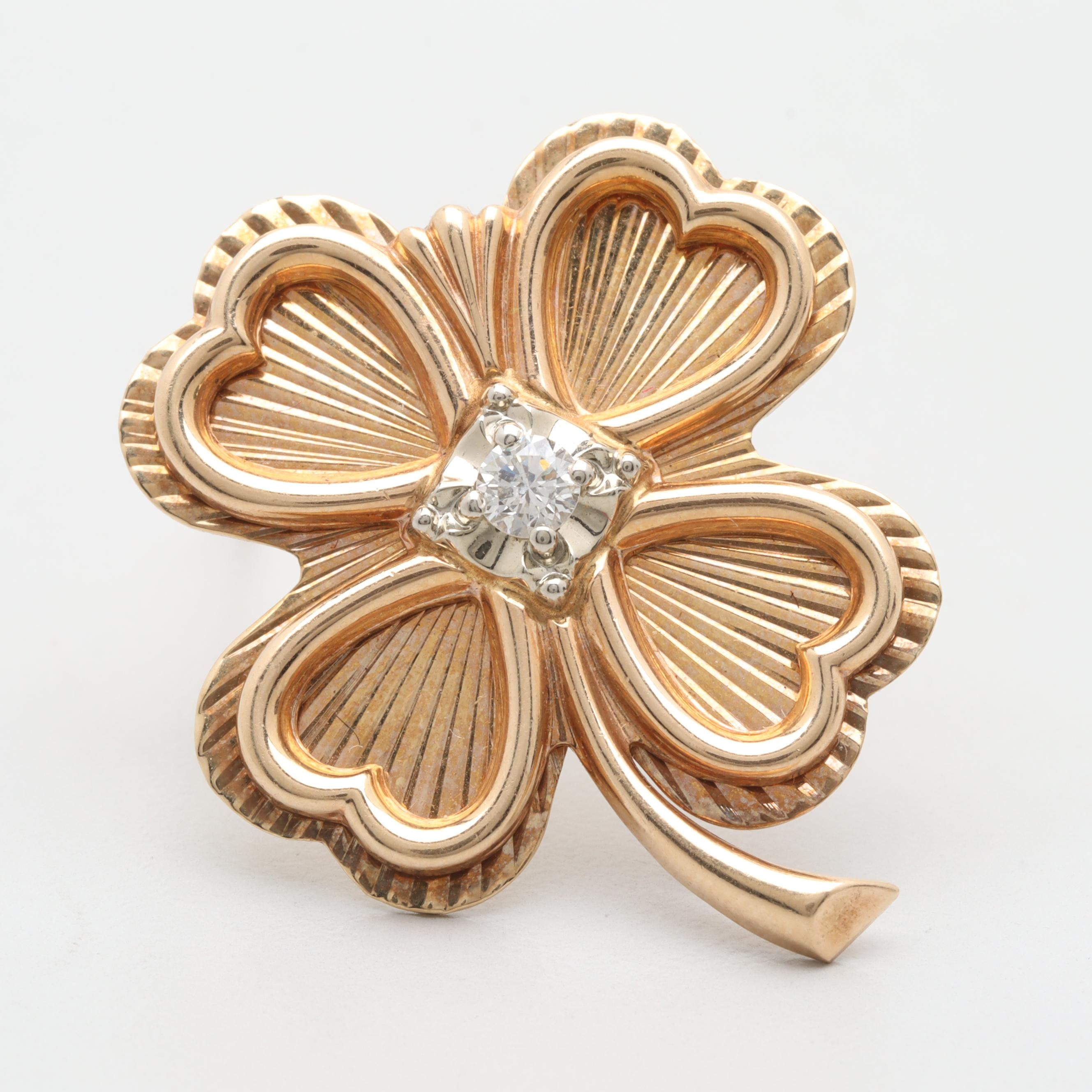 Vintage 14K Yellow Gold Diamond Clover Brooch