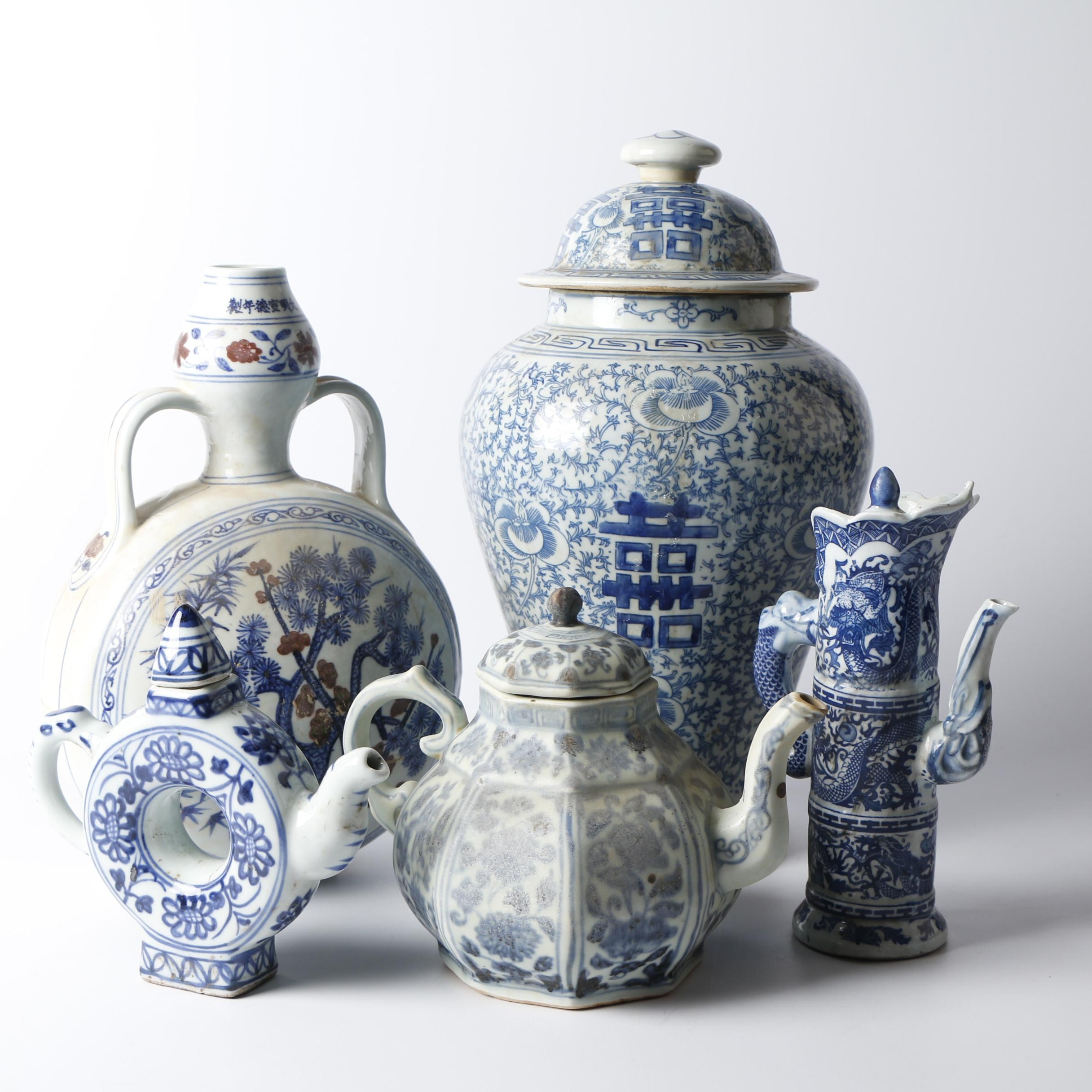 Chinese Hand-Painted Blue and White Porcelain Teapots, Vase, and Ginger Jar