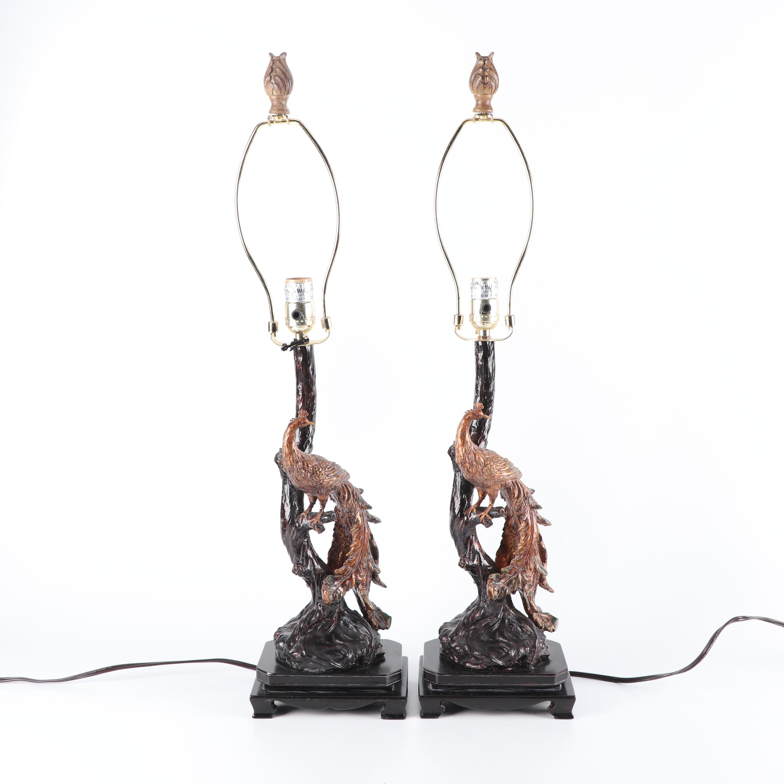 Figural Peacock Table Lamps
