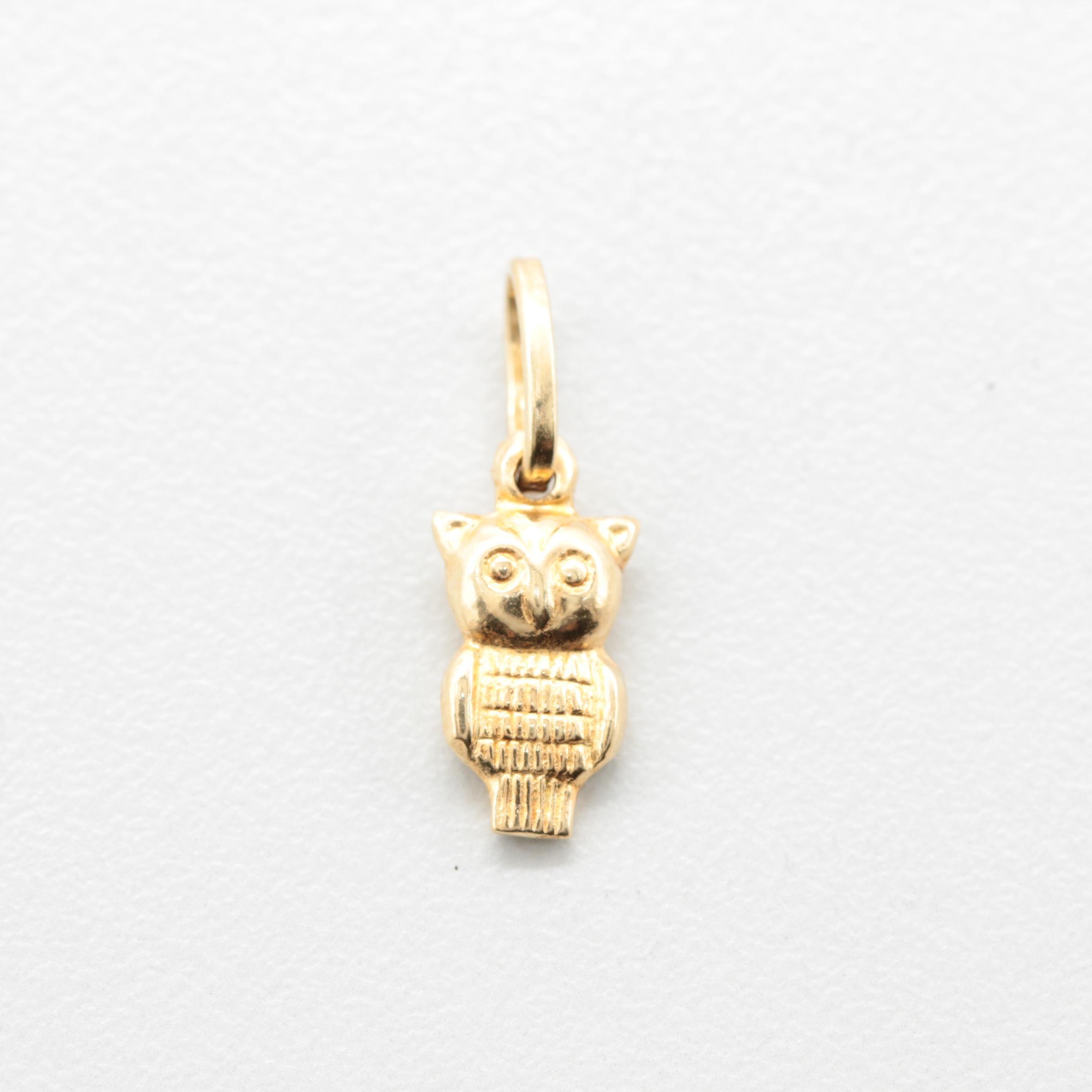 18K Yellow Gold Owl Charm Pendant
