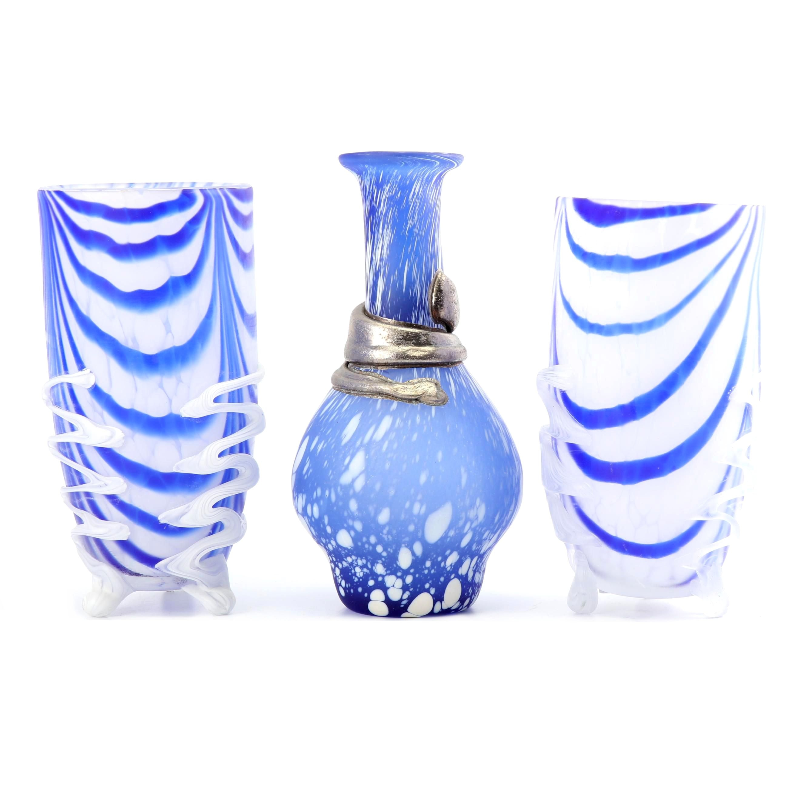 Blue and White Decorative Glass Vases