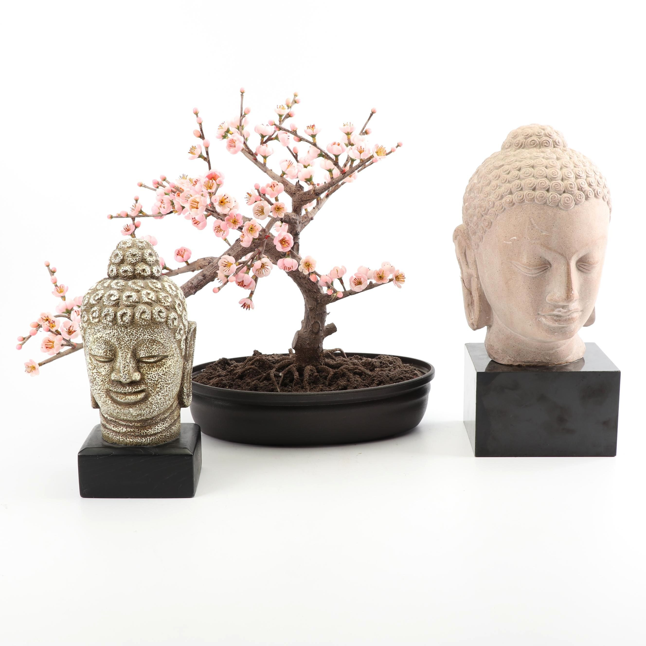 Faux Cherry Bonsai Tree with Two Buddha Heads