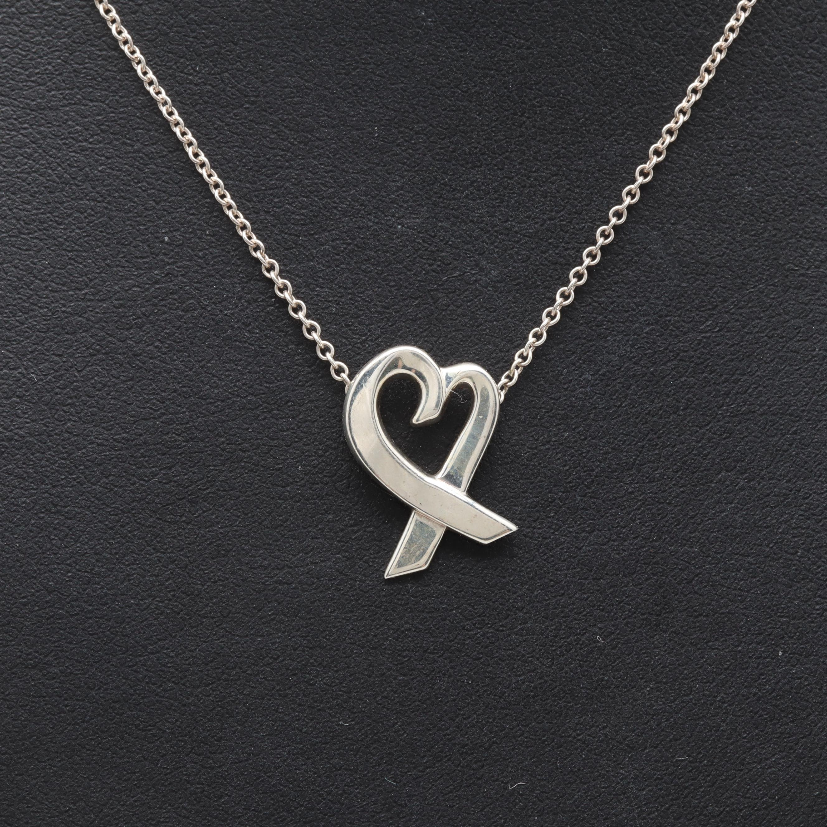 Paloma Picasso for Tiffany & Co. Sterling Silver Heart Ribbon Pendant Necklace