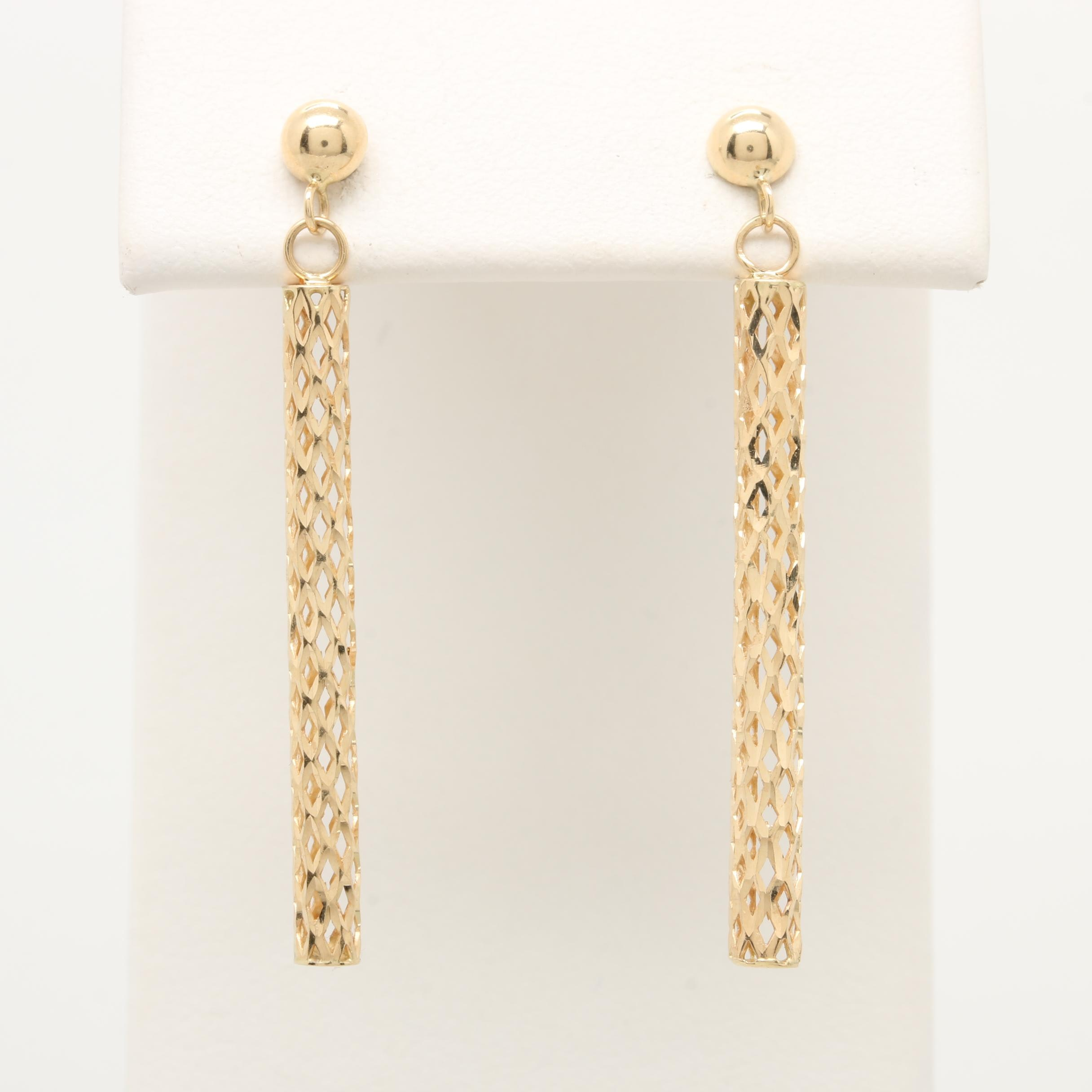 14K Yellow Gold Diamond Cut Openwork Cylinder Drop Earrings