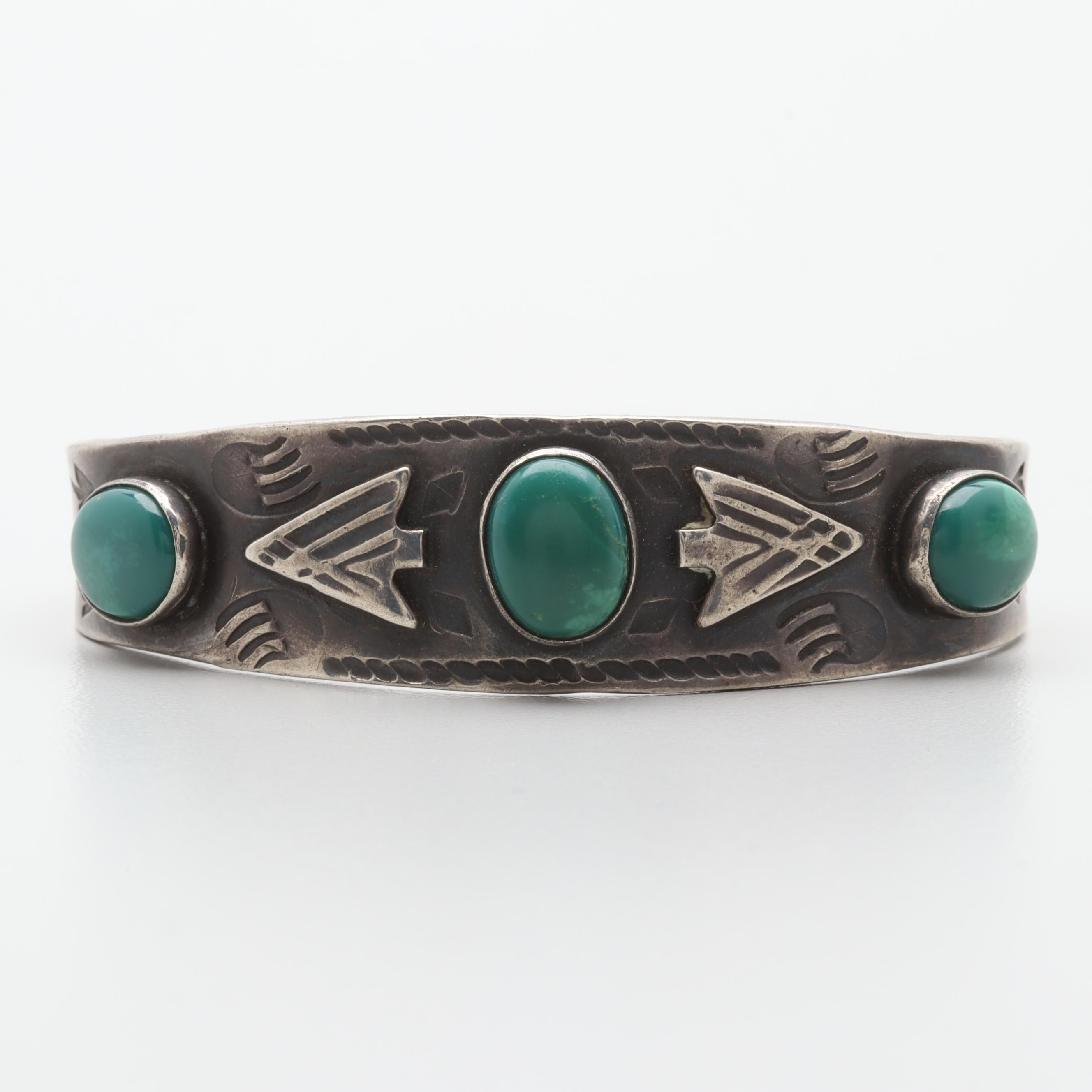 Vintage Southwestern Style Sterling Silver Green Turquoise Cuff Bracelet