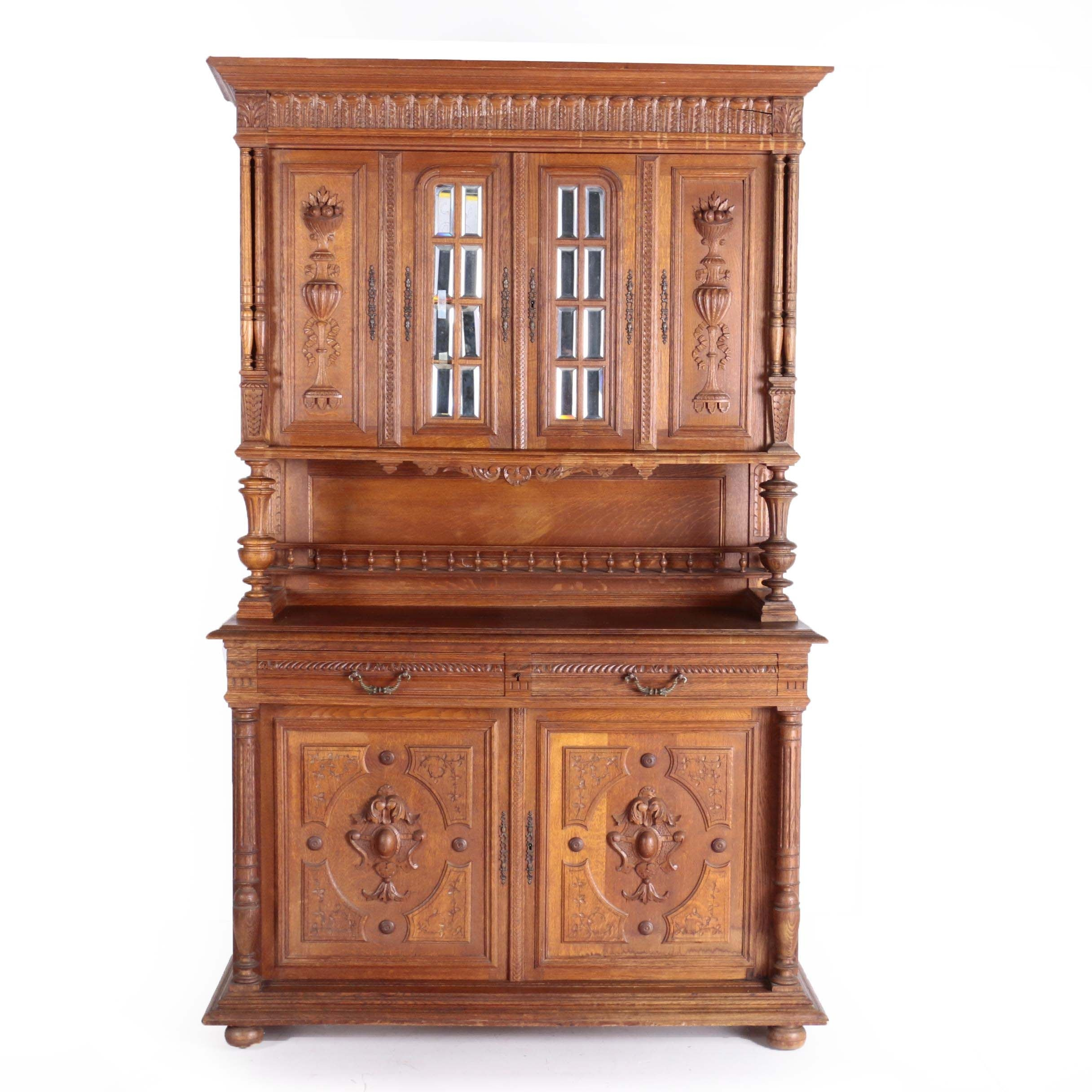French Oak Buffet a Deux Corps, Late 19th Century