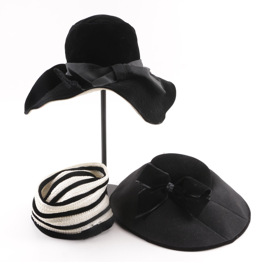 15e205a111e01 Vintage Mr. John Jr. Felt and Woven Hats with Eric Javits Quilted Velvet Hat  ...