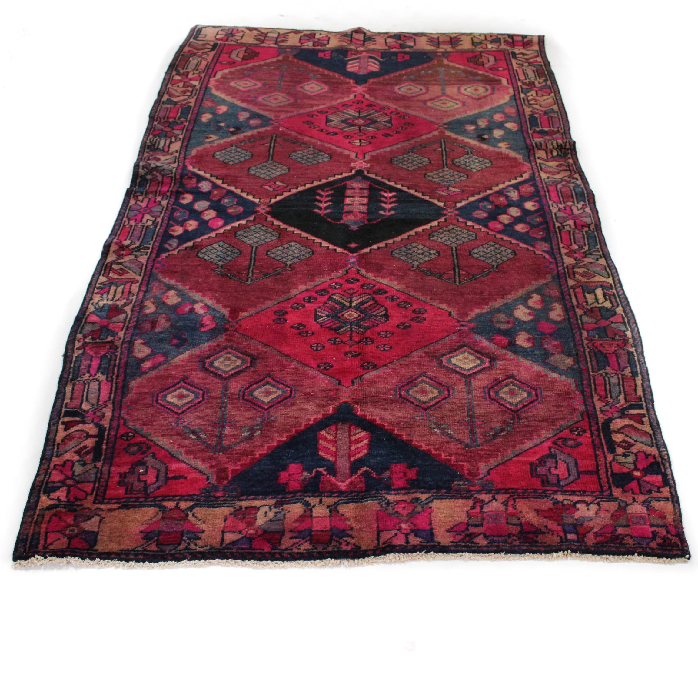Vintage Hand-Knotted Persian Bakhtiari Area Rug