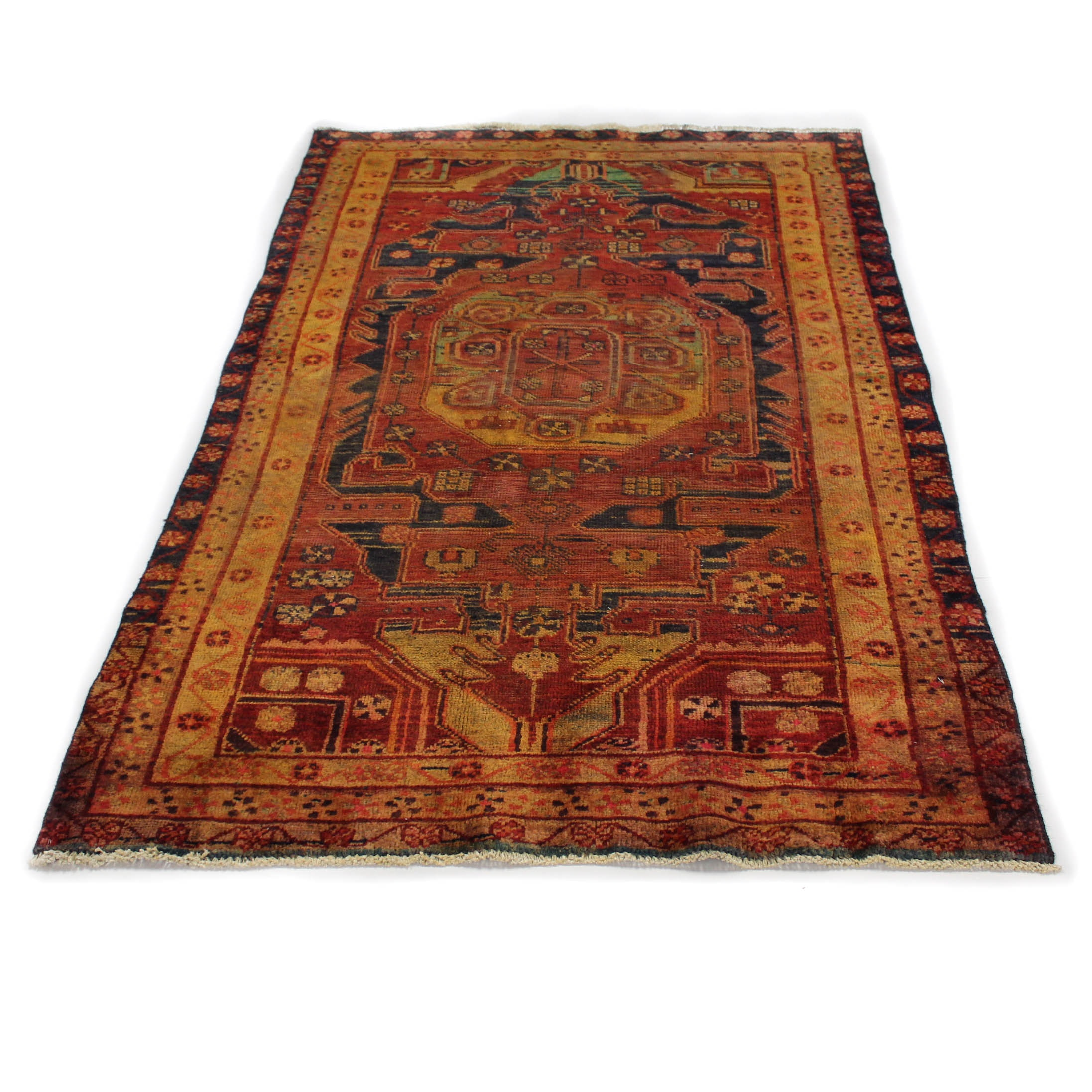 Vintage Hand-Knotted Persian Bijar Area Rug