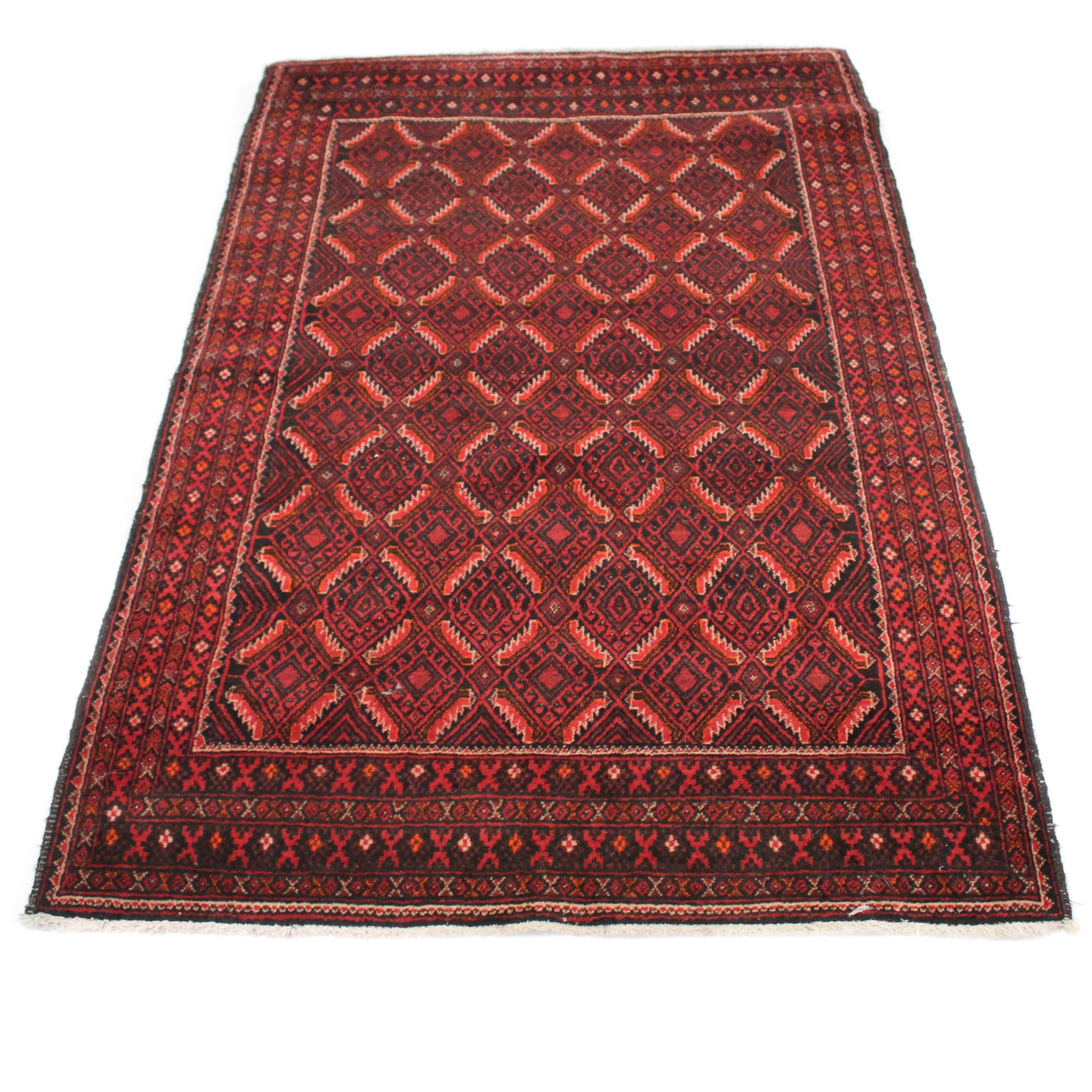 Hand-Knotted Persian Baluch Area Rug