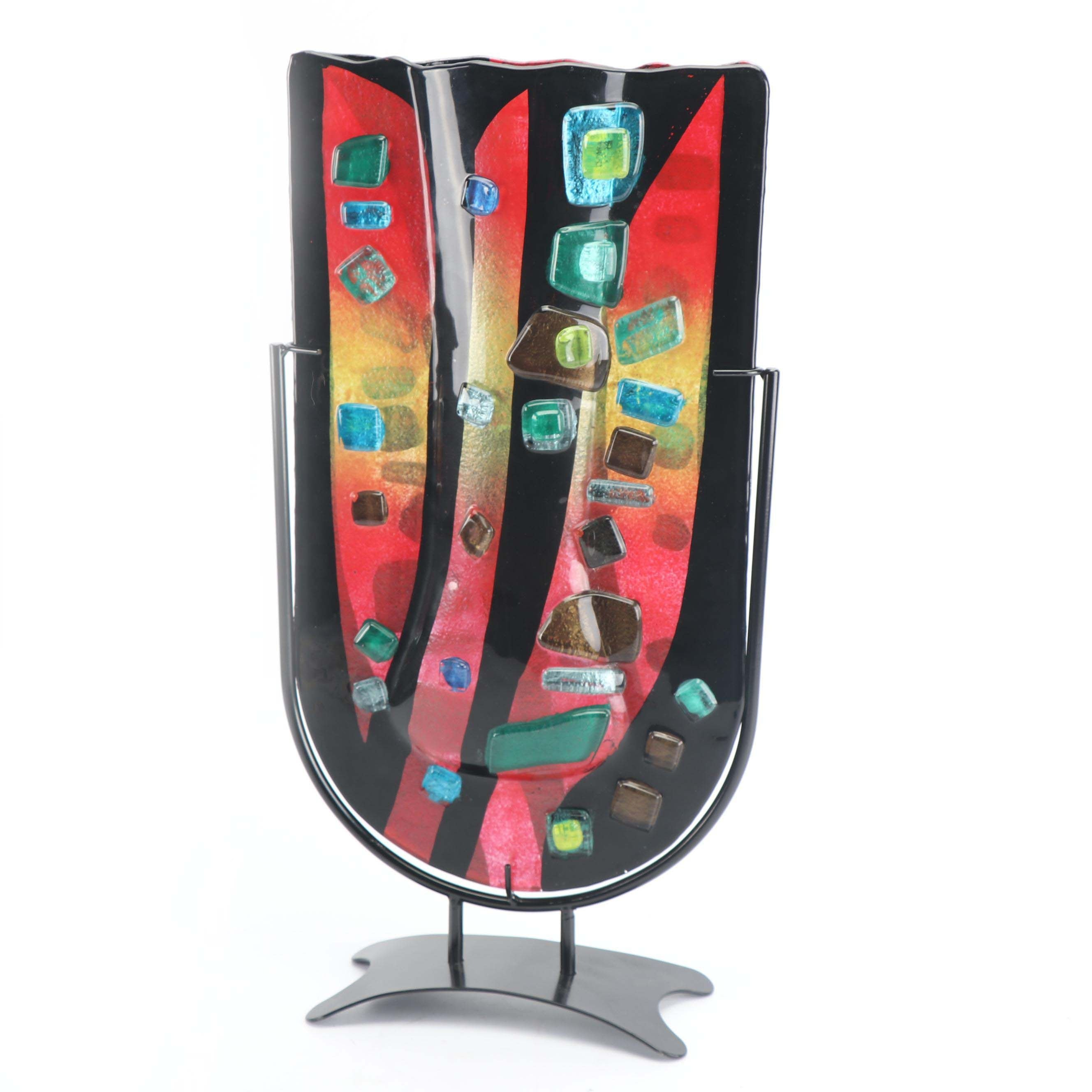 Contemporary Fused Glass Vase with Metal Stand