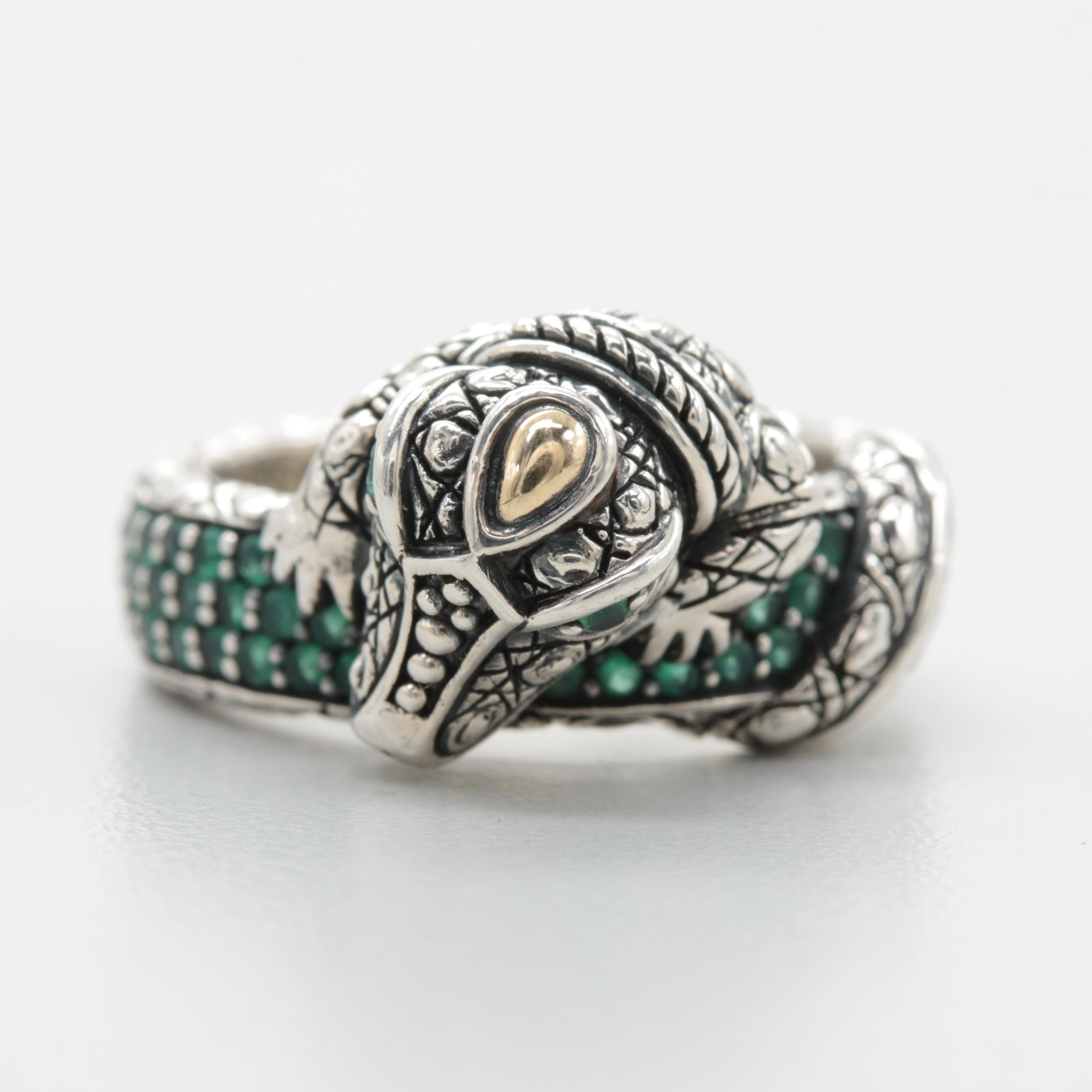 JAI by Scott Grimes Sterling Synthetic Emerald Ring Including 14K Gold Accents