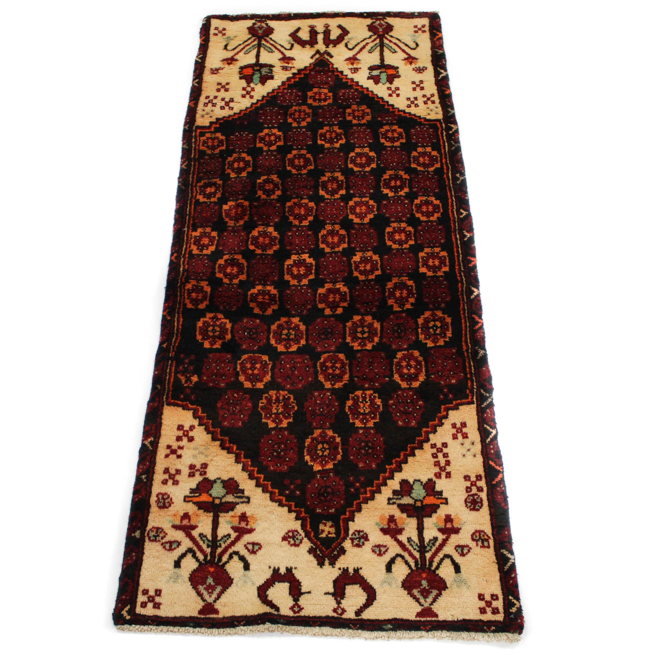 Vintage Hand-Knotted Persian Qum Accent Rug