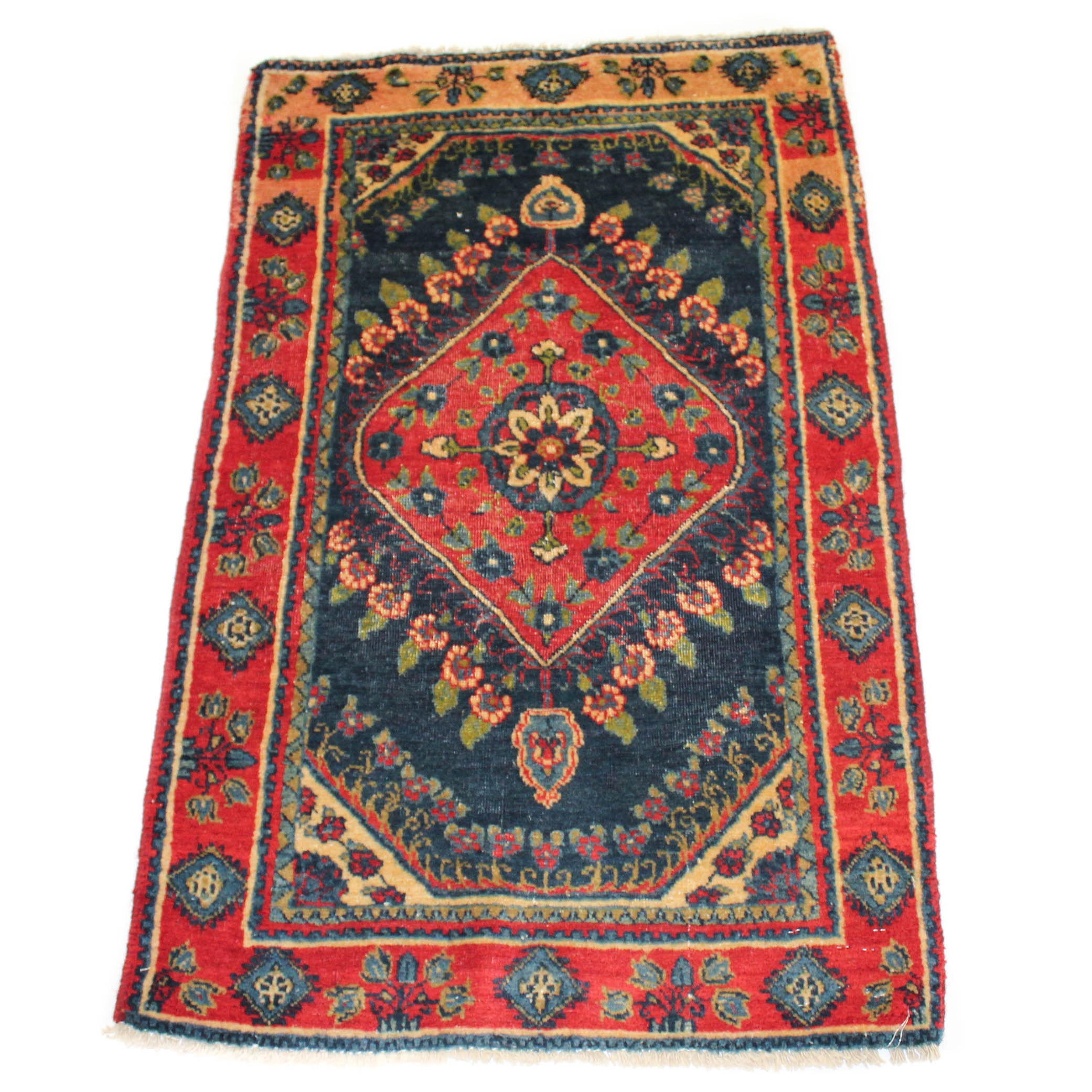 Vintage Hand-Knotted Persian Bijar Accent Rug