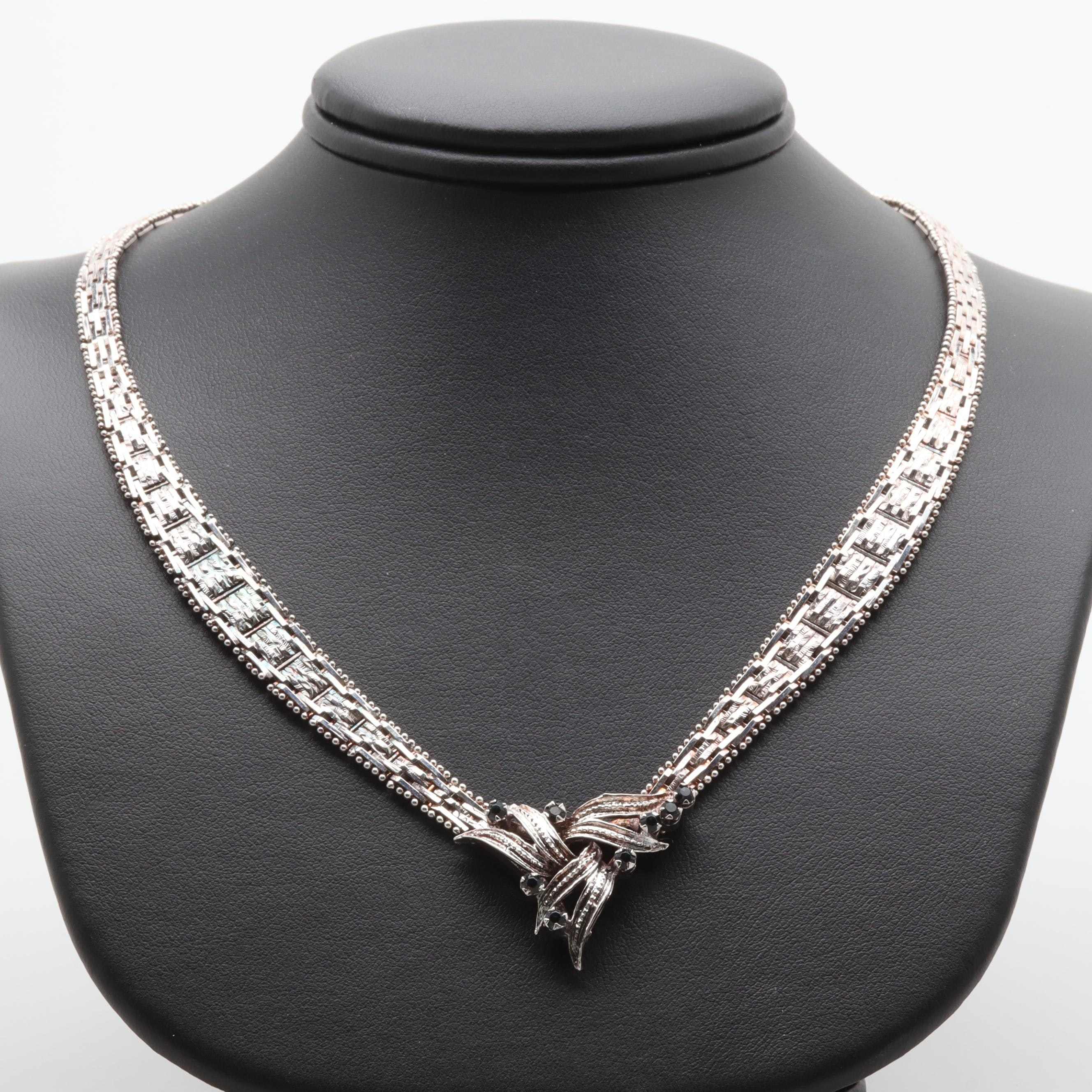 Sterling Silver Fancy Link Necklace With Glass Accents