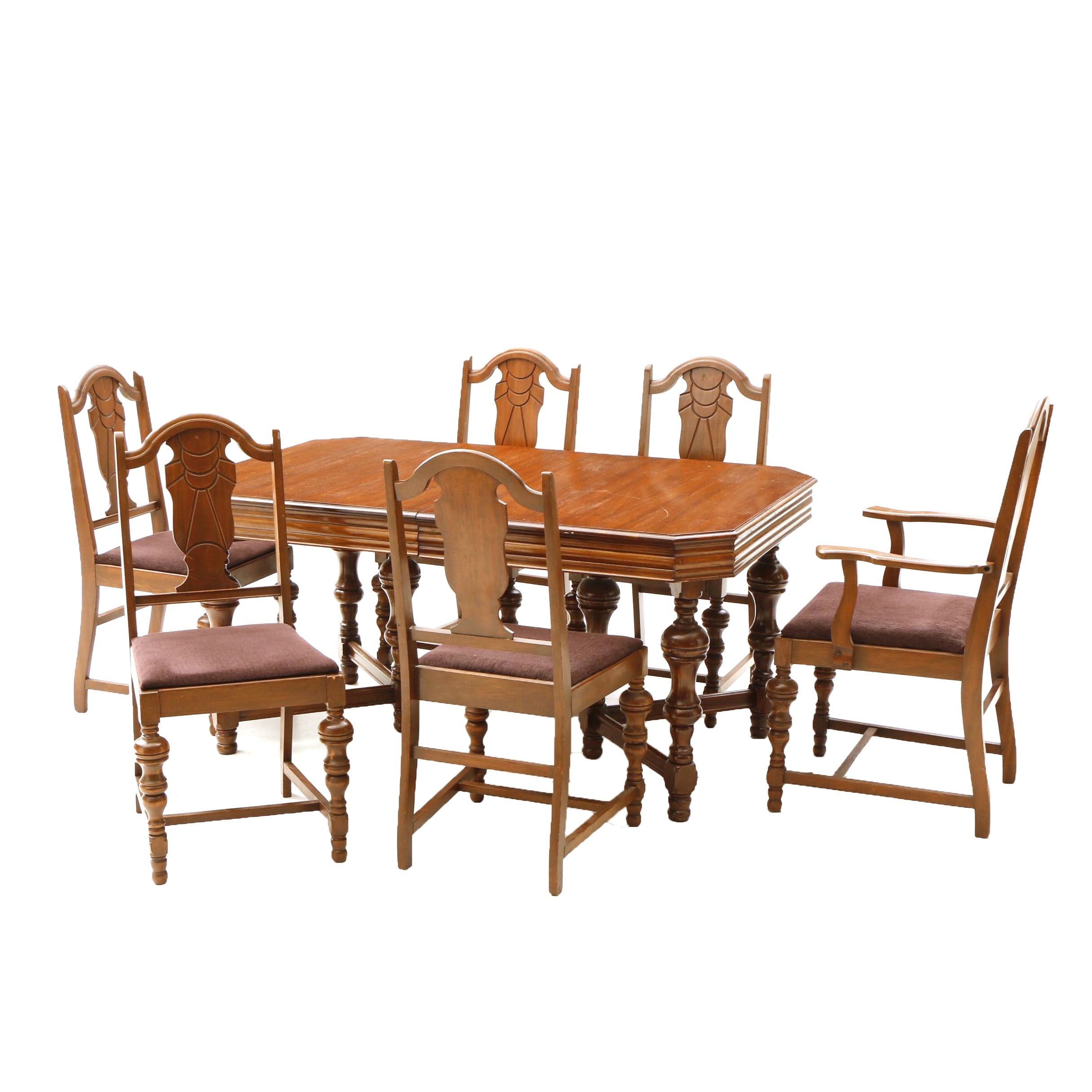 Vintage Dining Table With Six Upholstered Chairs