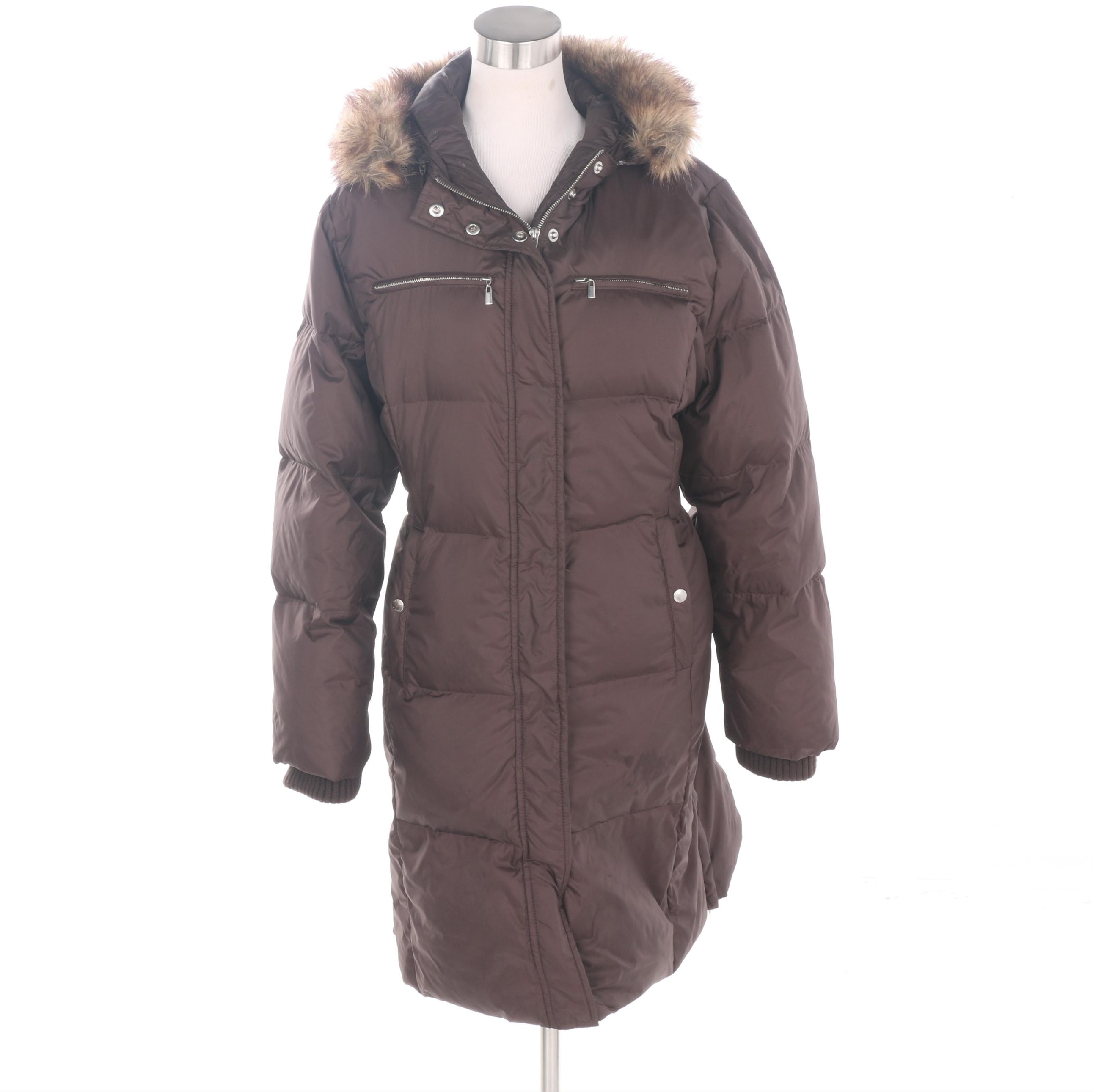 Women's MICHAEL Michael Kors Brown Puffer Coat with Faux Fur Trim