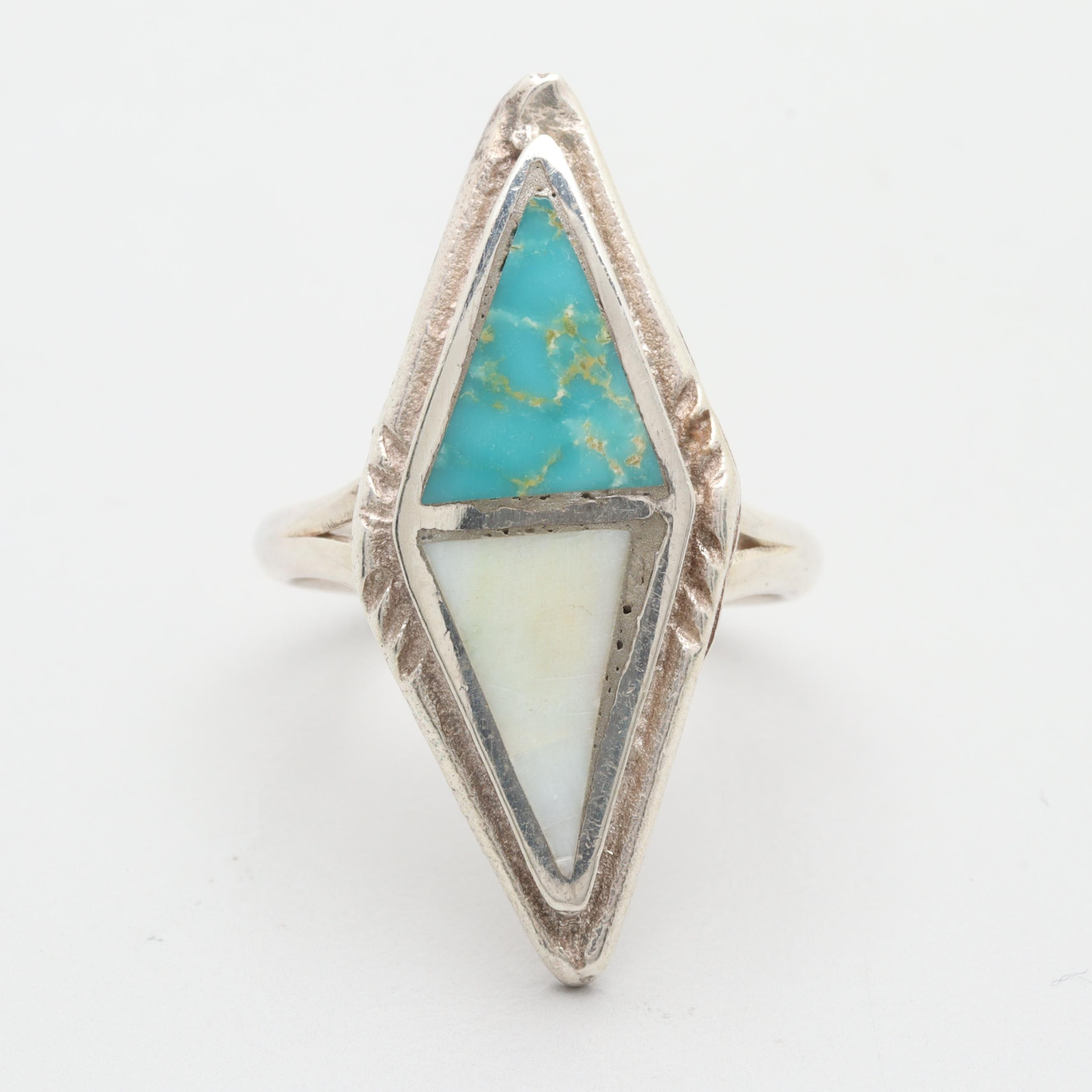 Sterling Silver Stabilized Turquoise and Shell Ring