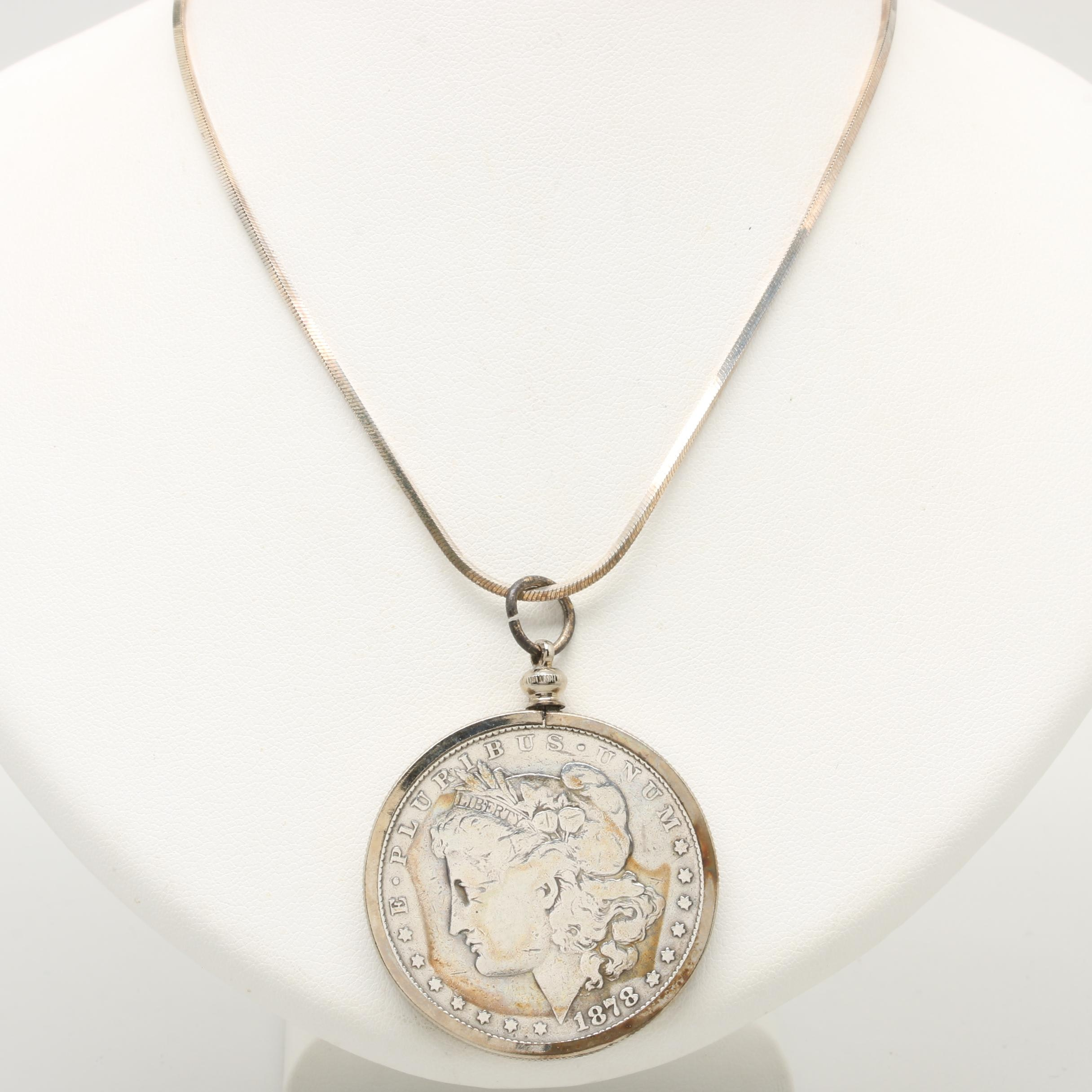 Sterling Silver Chain Necklace with an 1878-S Morgan Silver Dollar
