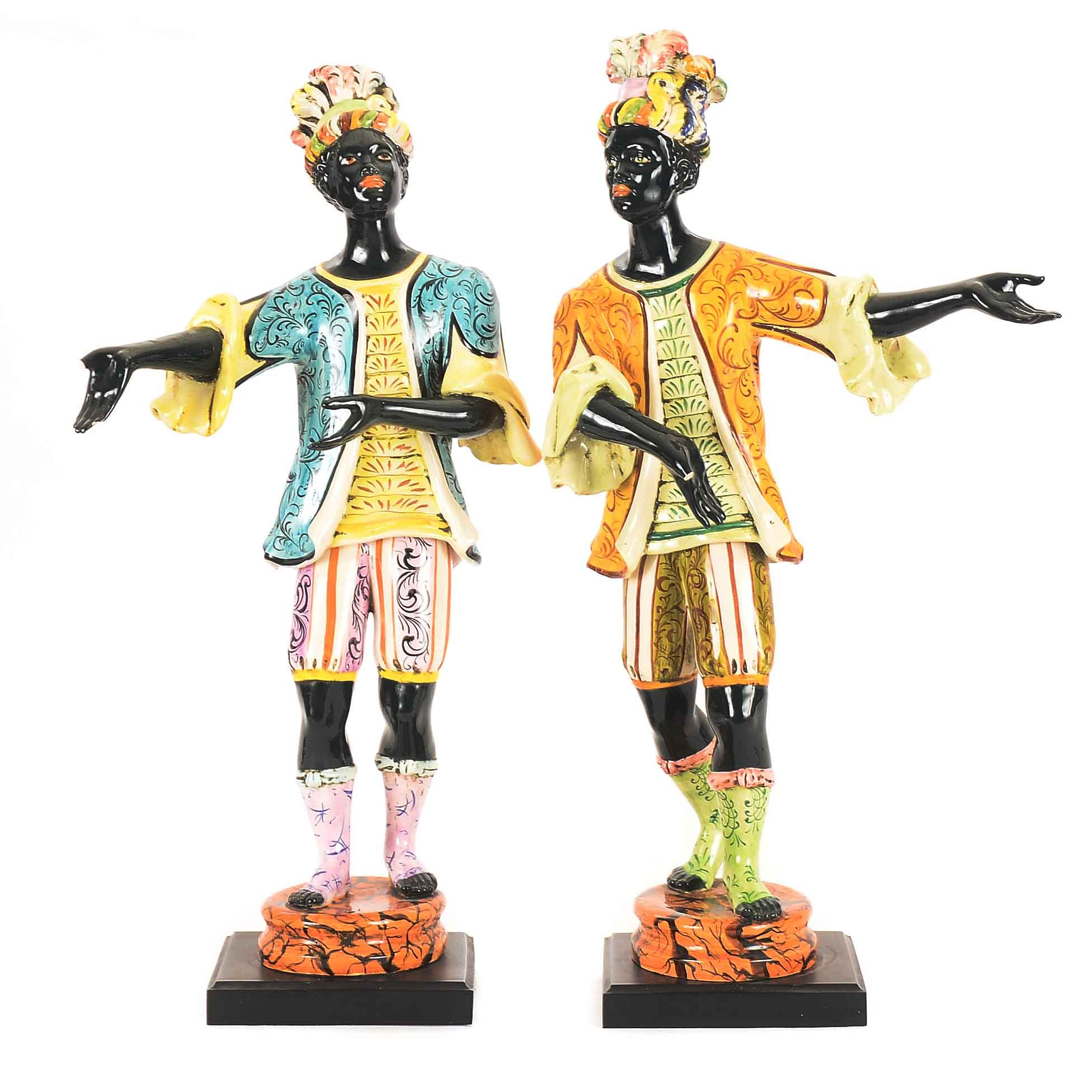 Two 1950s Italian Majolica Ceramic Blackamoor Figures
