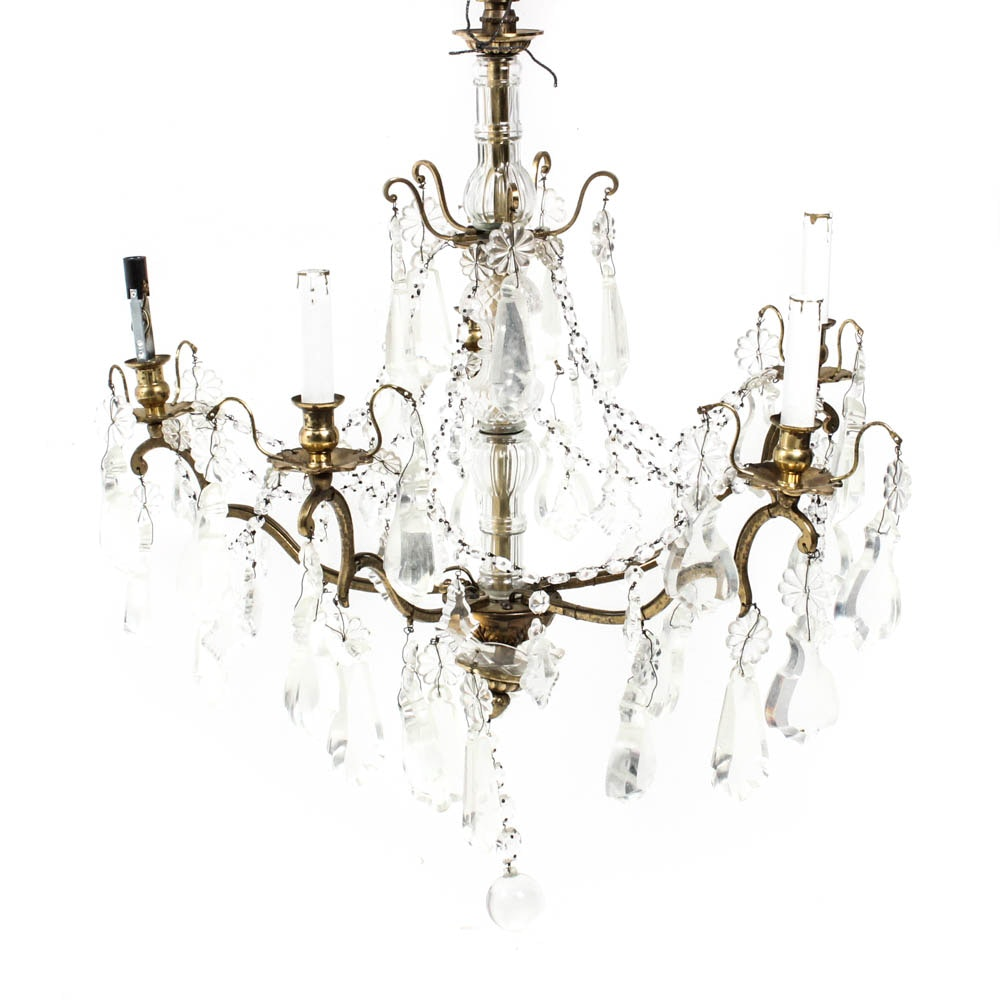 Vintage Chandelier With Glass Prisims