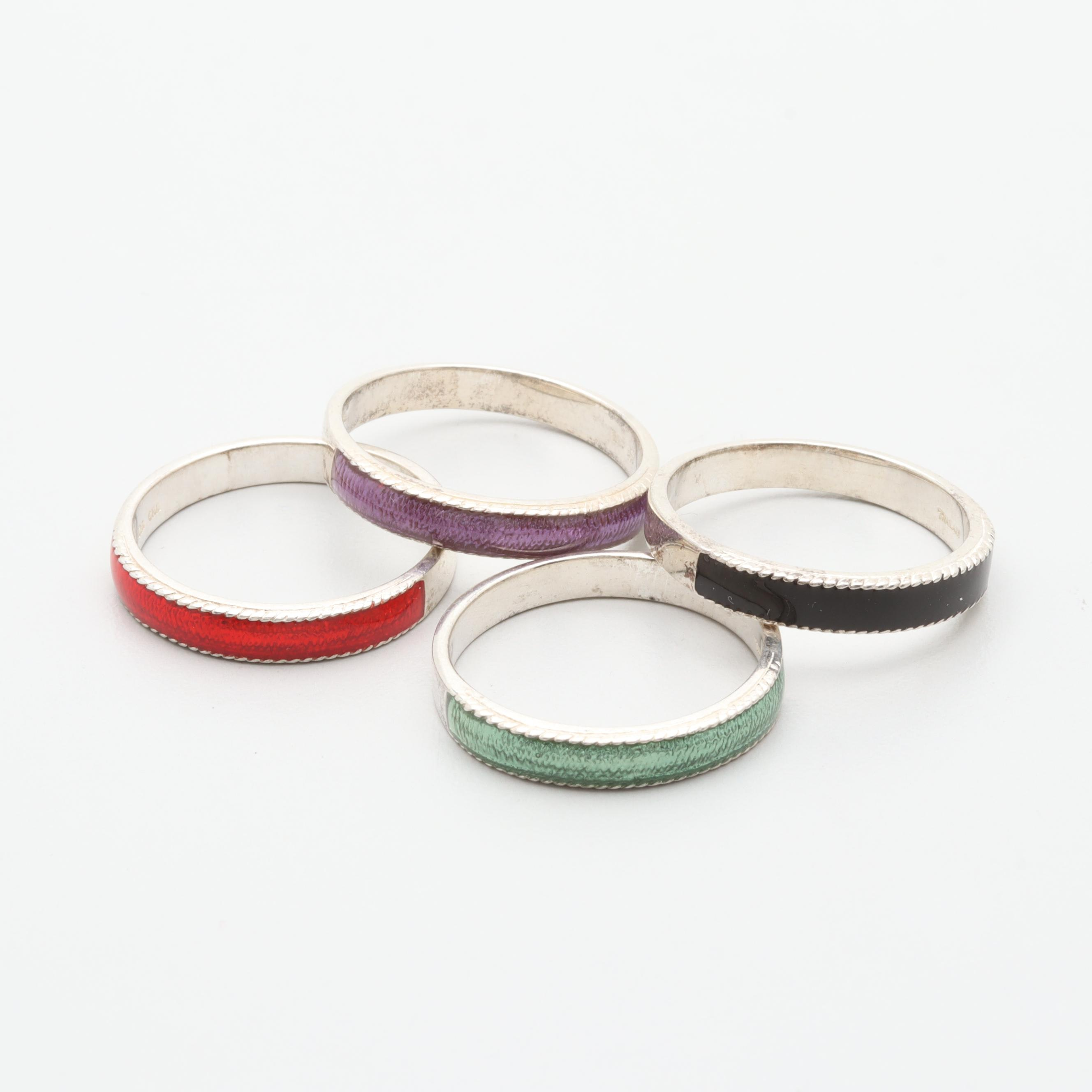 Sterling Silver Ring Selection Including Enamel