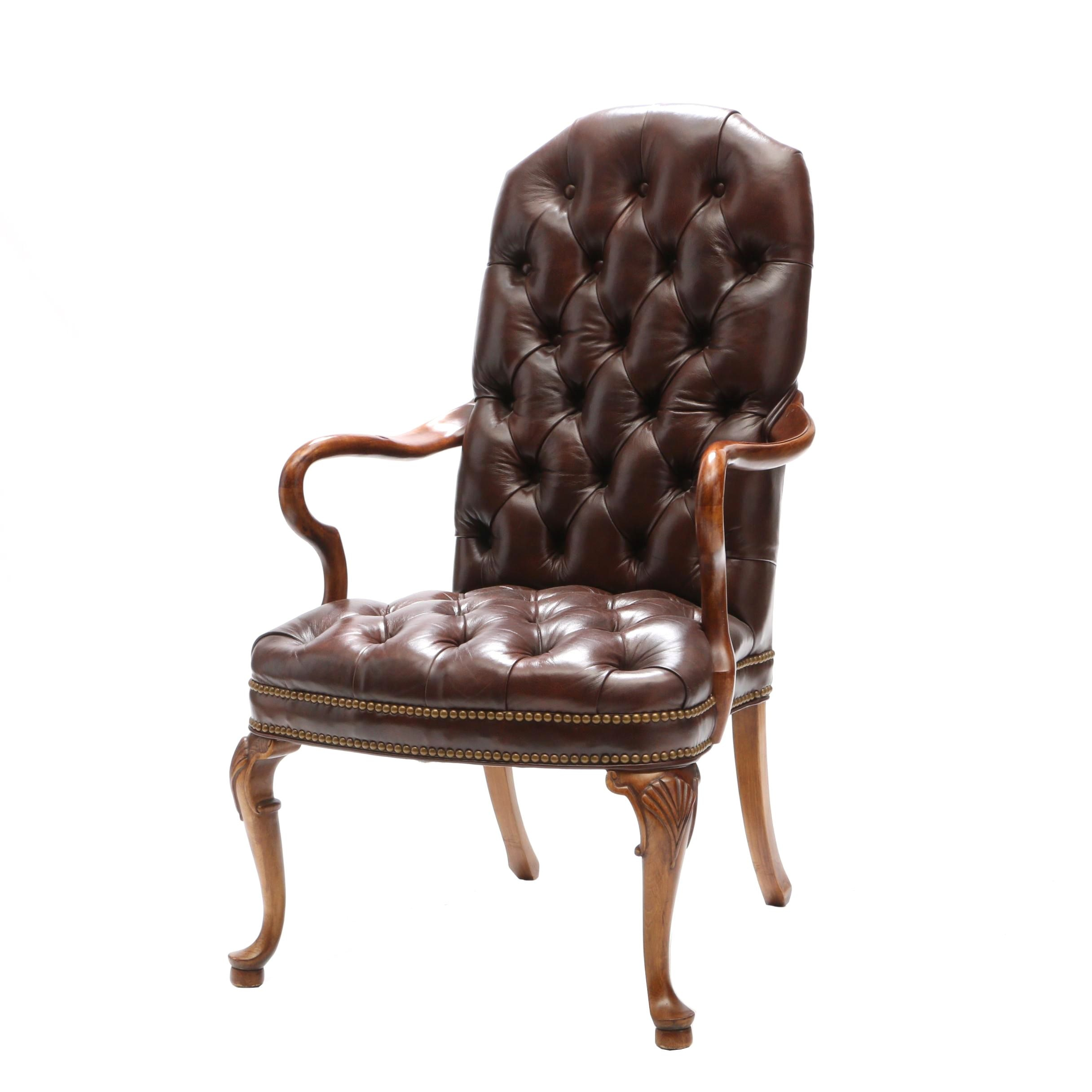 Chippendale Style Tufted Leather Arm Chair by Woodmark