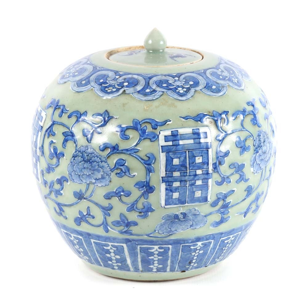 Chinese Blue Decorated on Celadon Ginger Jar