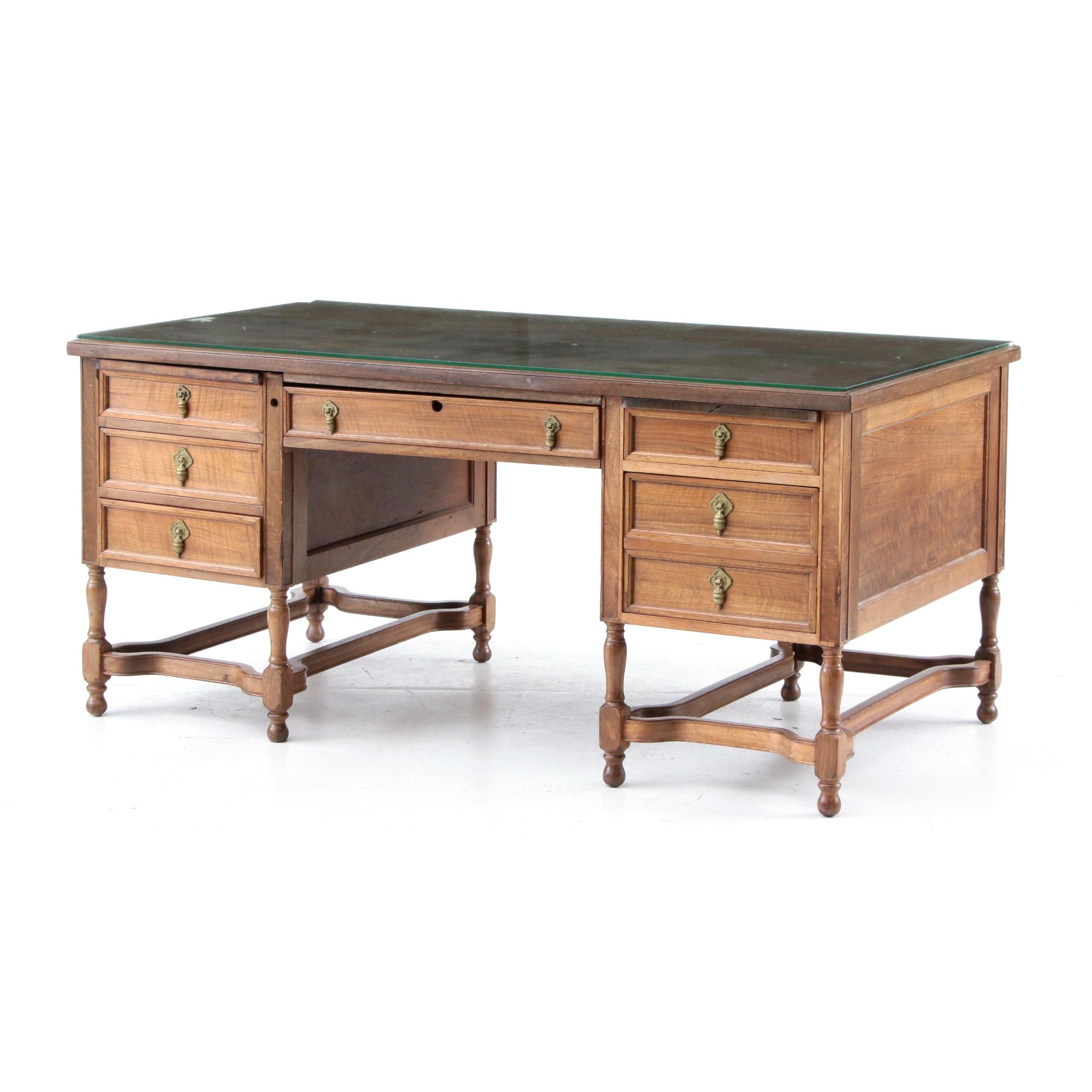 Vintage Walnut Kneehole Desk