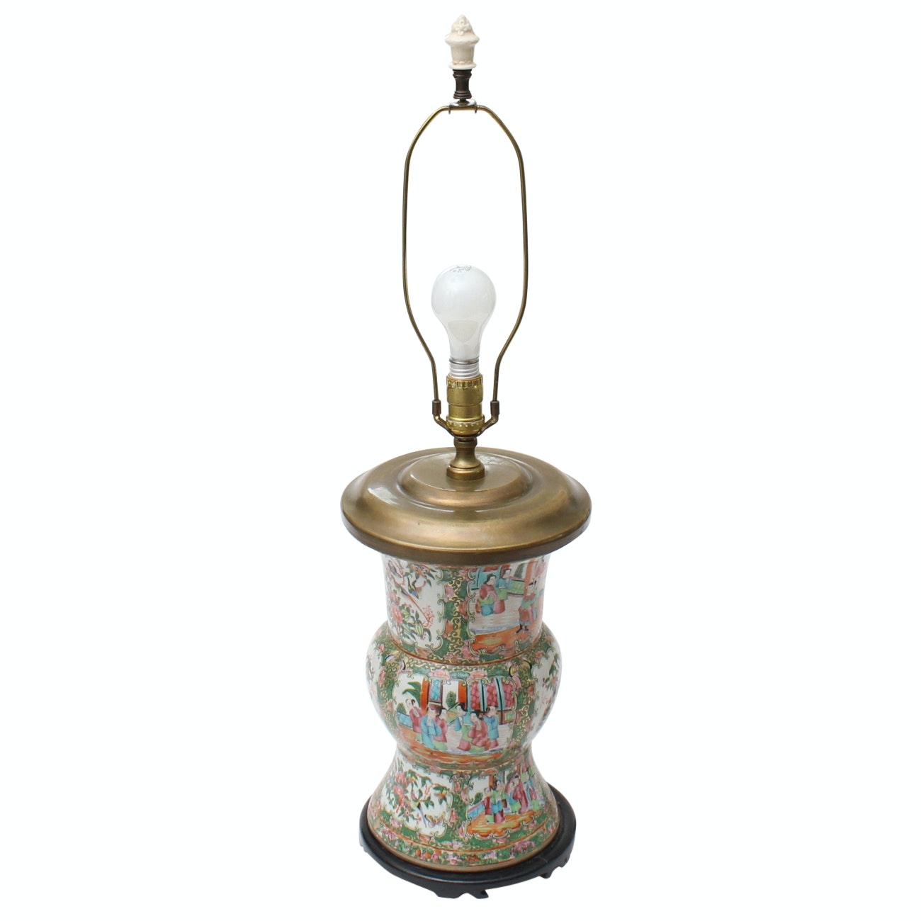 "Chinese ""Rose Medallion"" Gu Vase Ceramic Lamp"