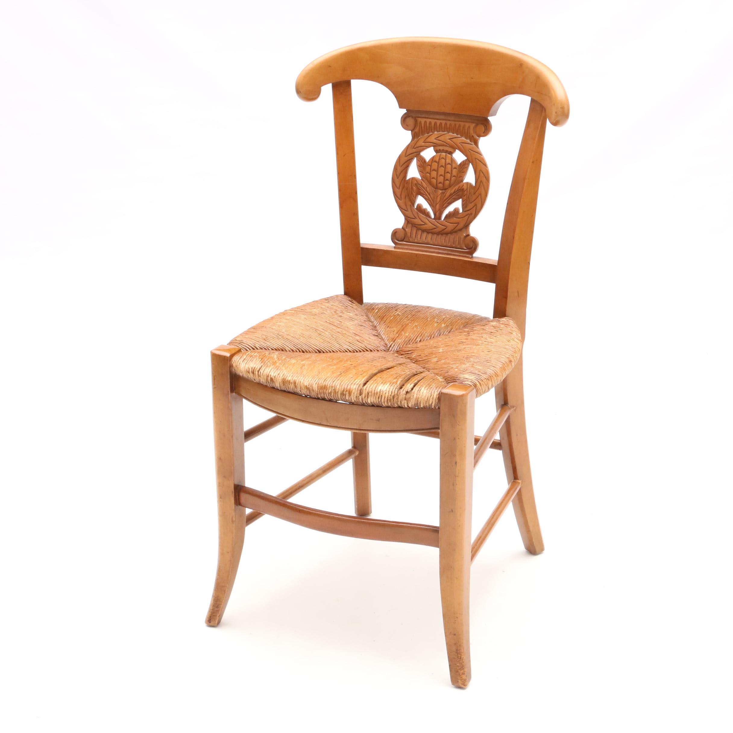 French Directoire Style Chair With Rush Cane Seating