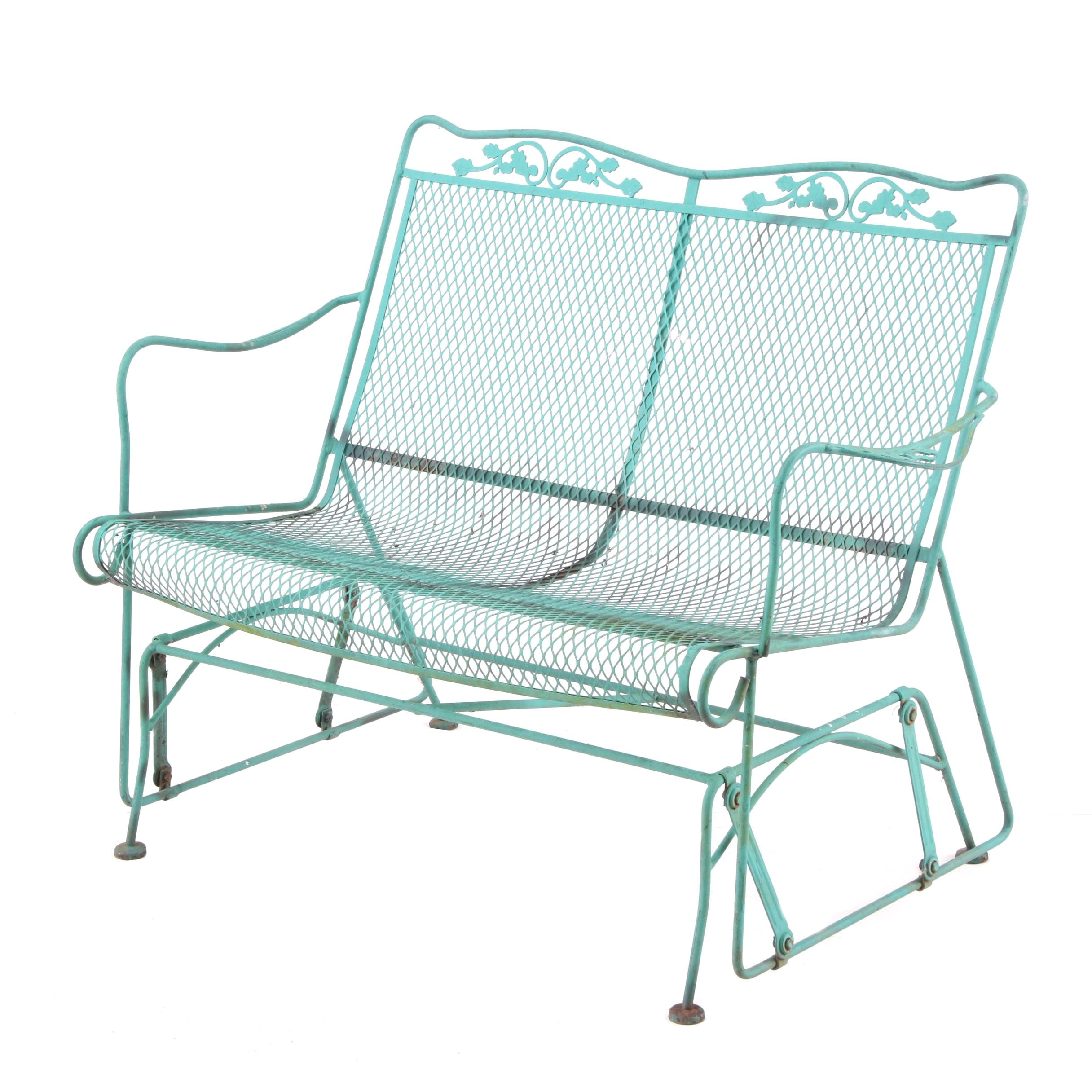 Metal Patio Glider in Green