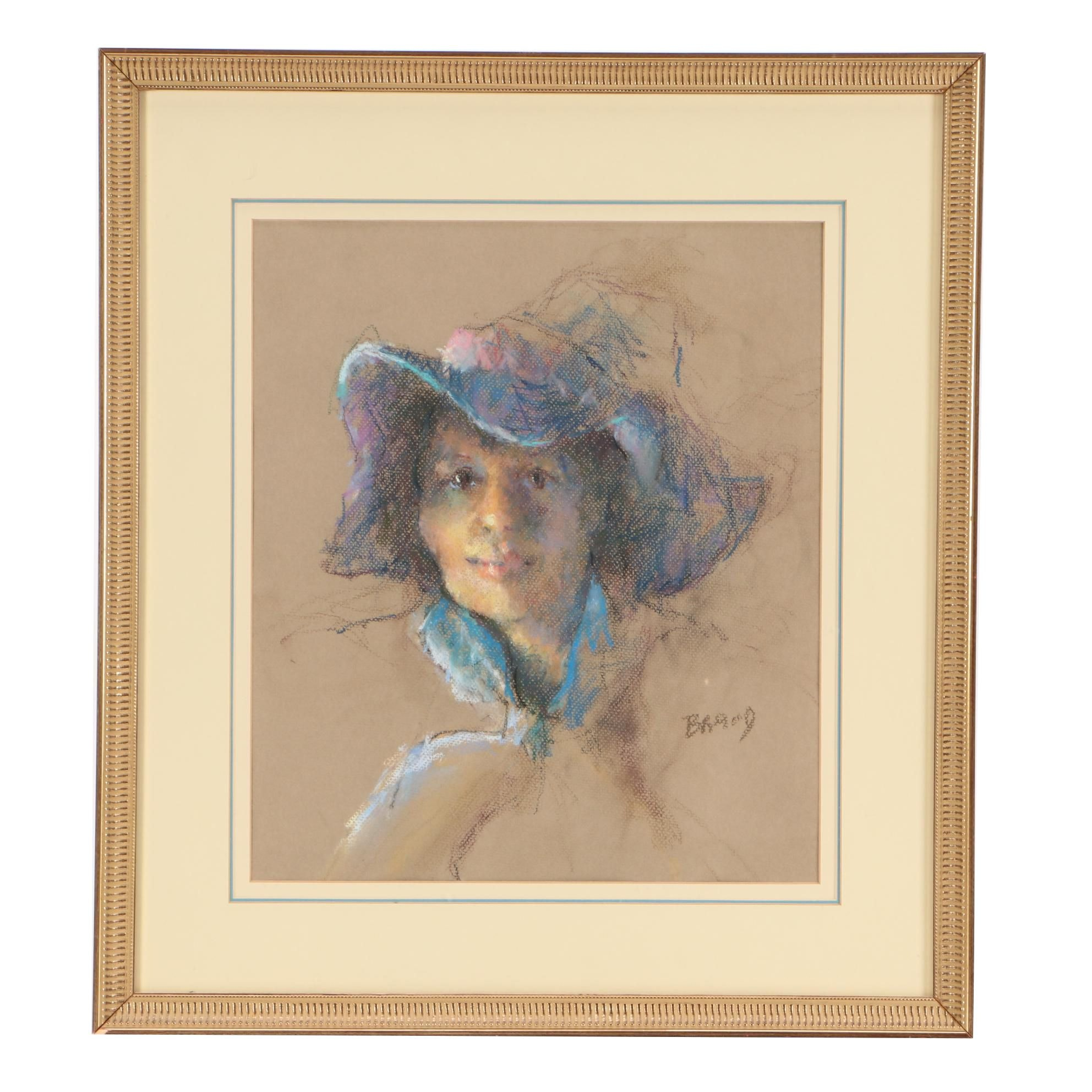 Pastel Portrait Drawing of Woman