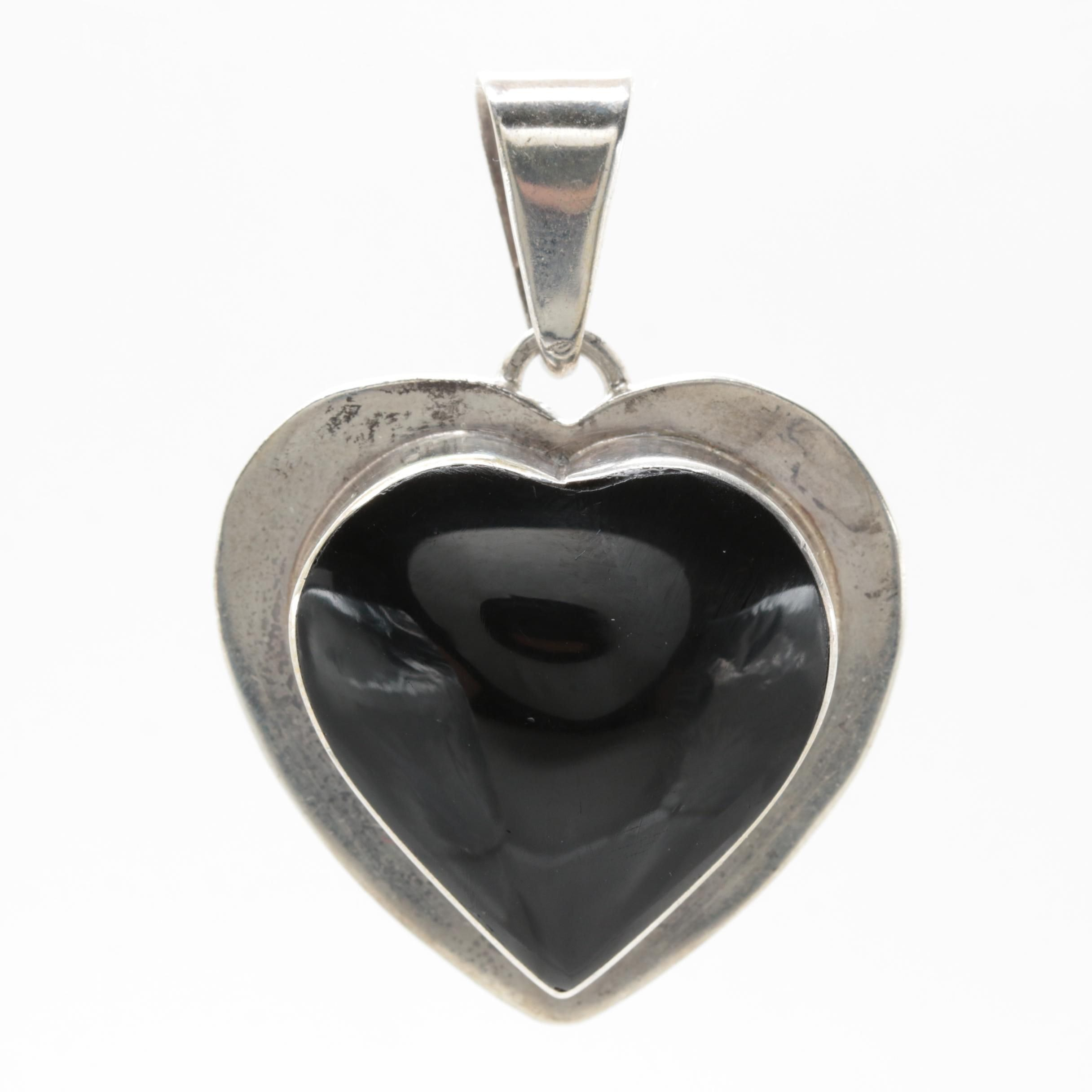 Mexican Sterling Silver Imitation Black Onyx Heart Pendant