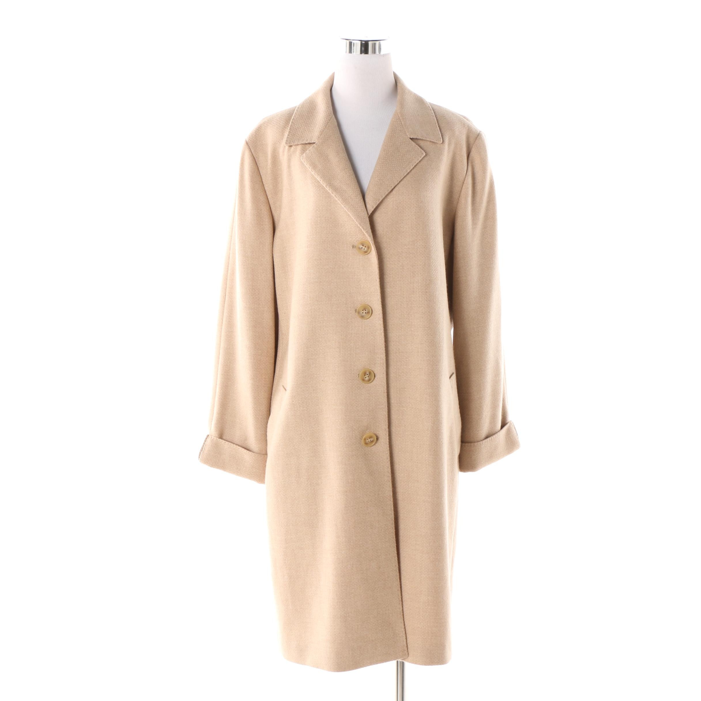 Women's Lafayette 148 New York Beige Wool and Cashmere Blend Coat