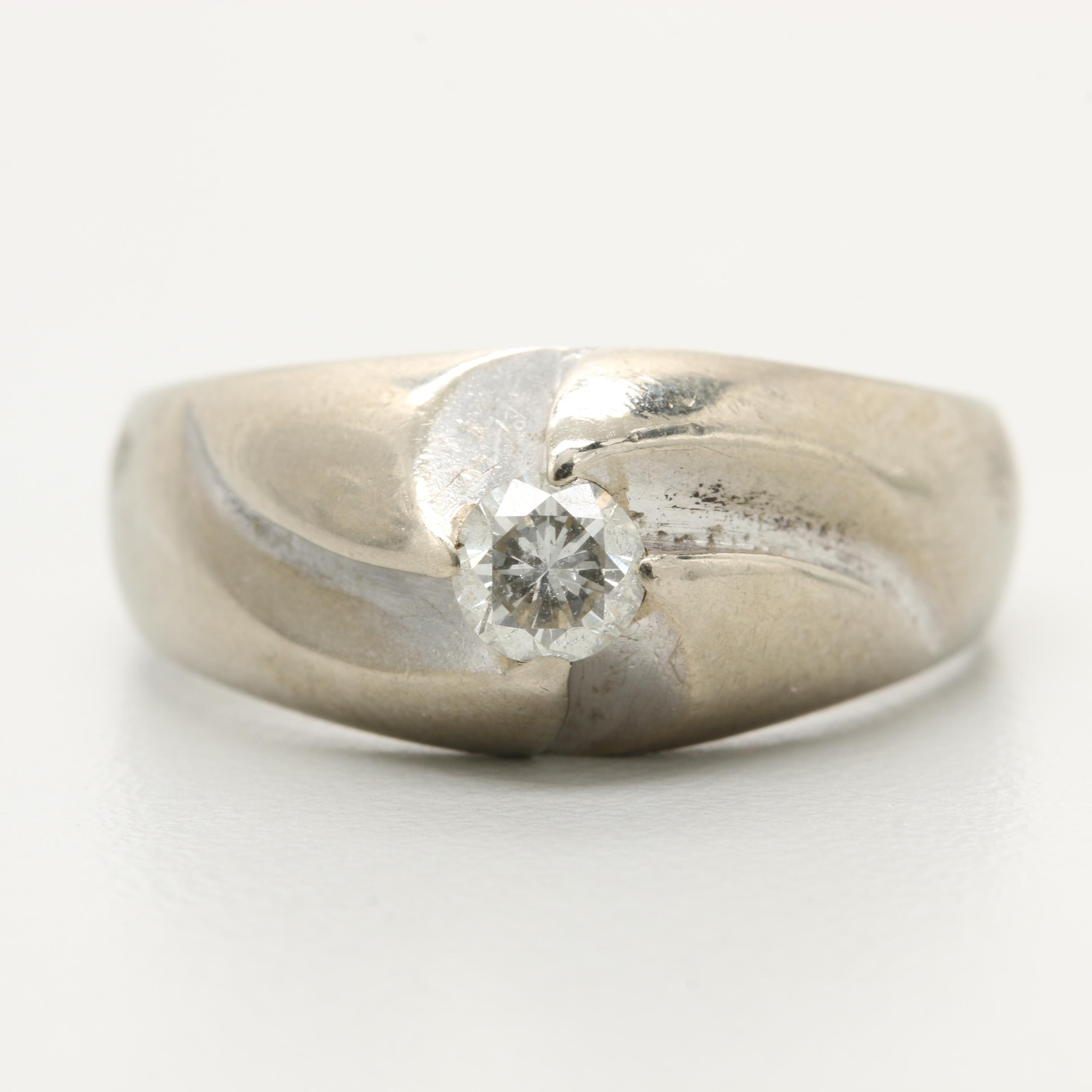 10K White Gold Solitaire Diamond Ring