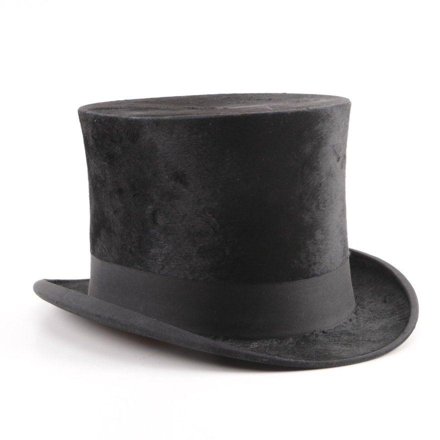 323c72137df17 Early 1900s Lizon Black Felted Fur Top Hat with Original Wooden Box   EBTH