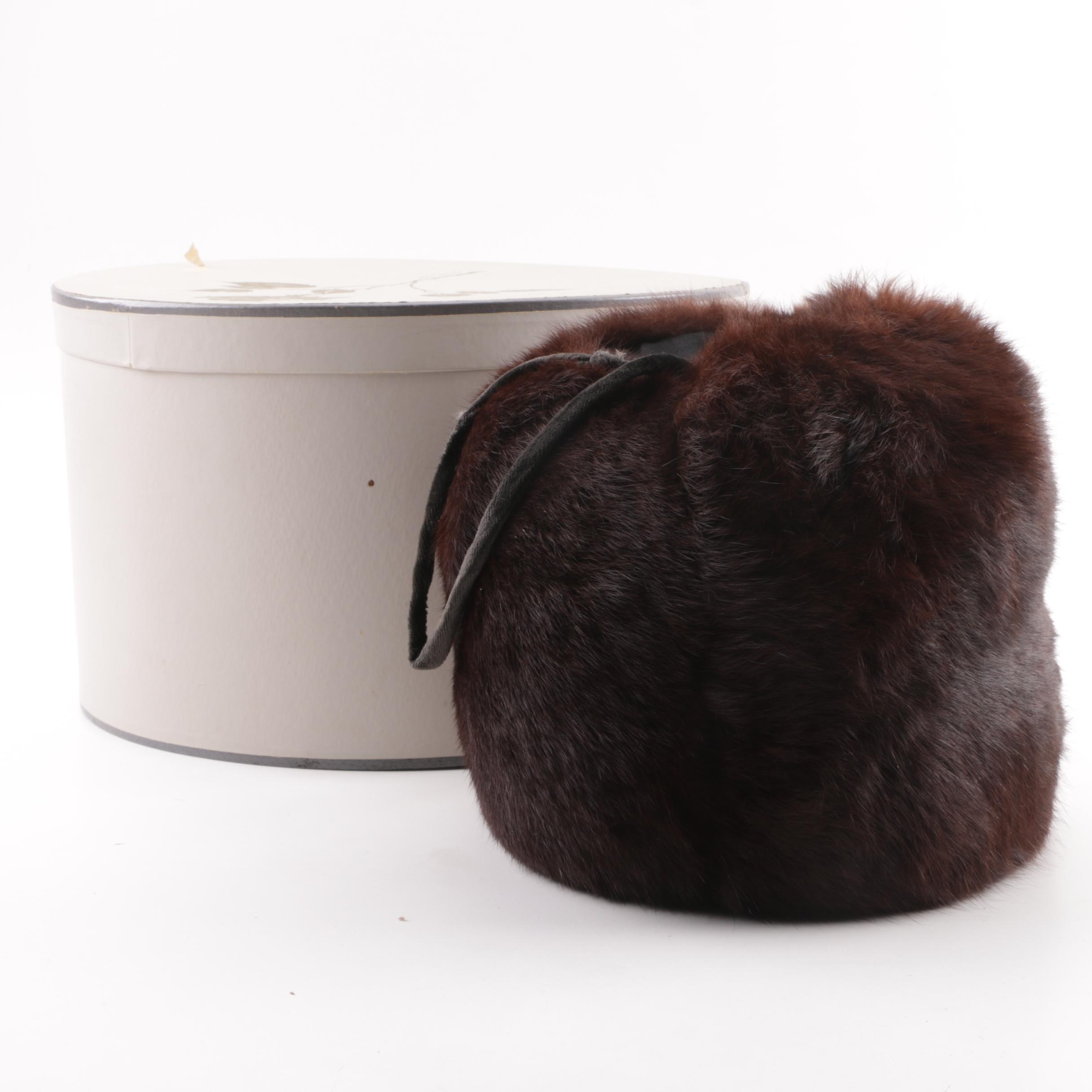Women's Vintage Dyed Brown Rabbit Muff with Hat Box