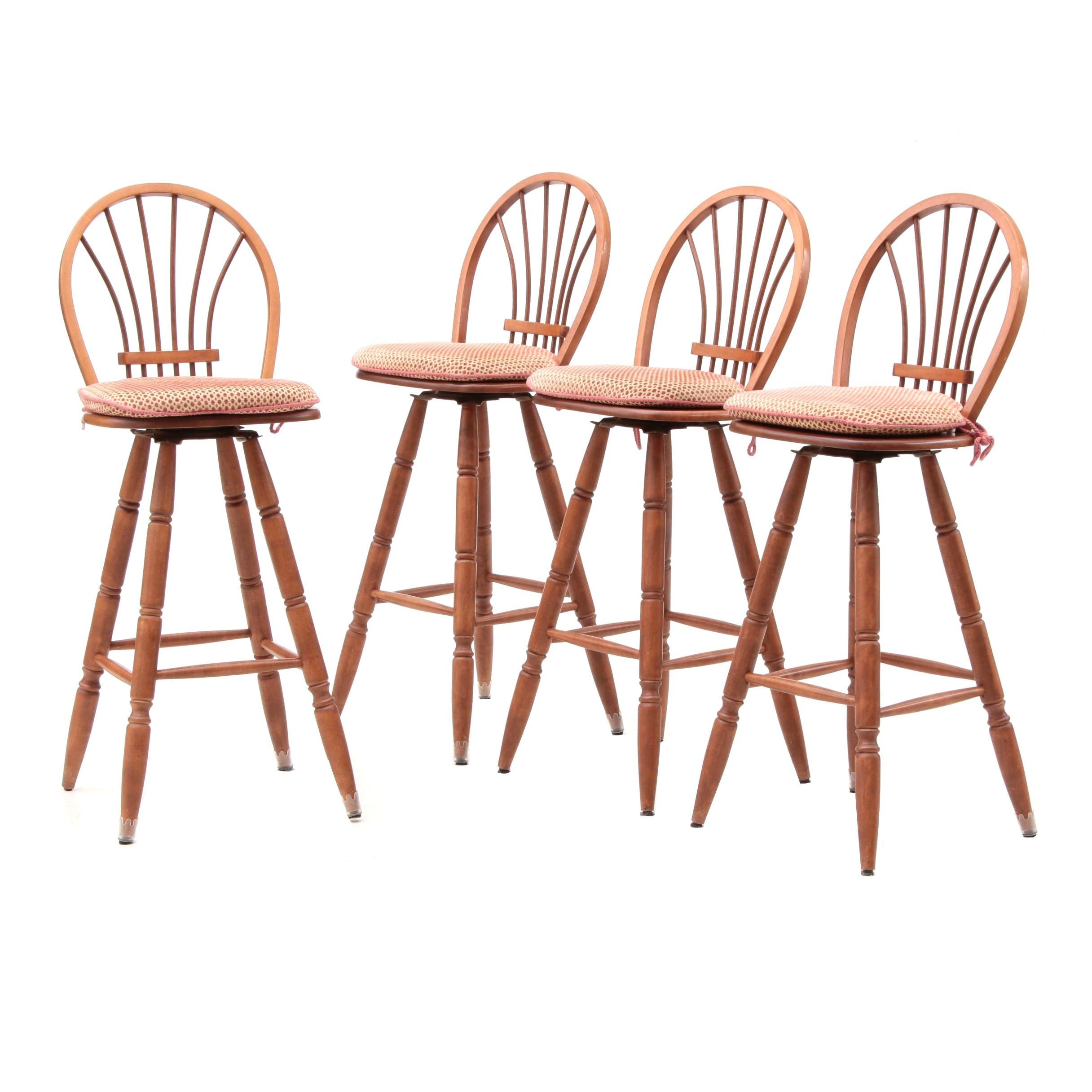 Oak Bar Height Swivel Chairs