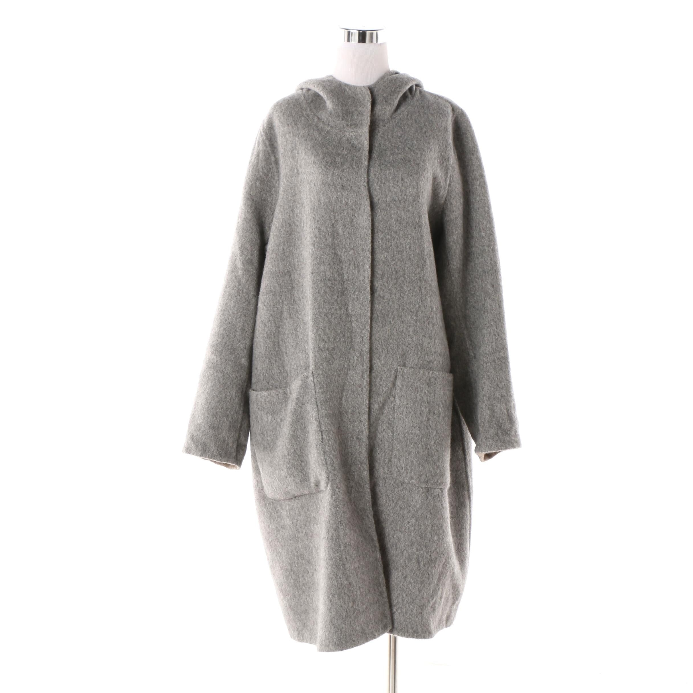 Women's Eileen Fisher Grey Baby Alpaca and Wool Blend Knit Hooded Coat