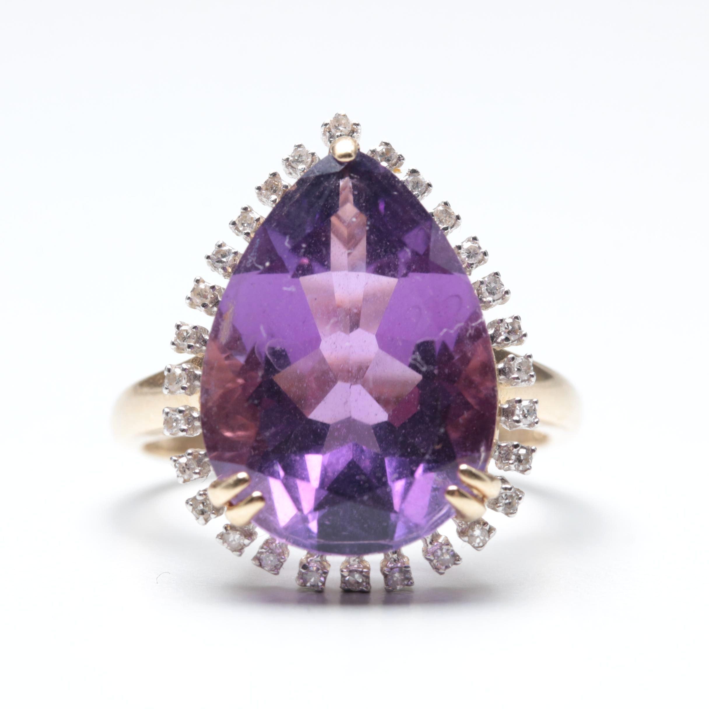 14K Yellow Gold 8.59 CT Amethyst and Diamond Ring