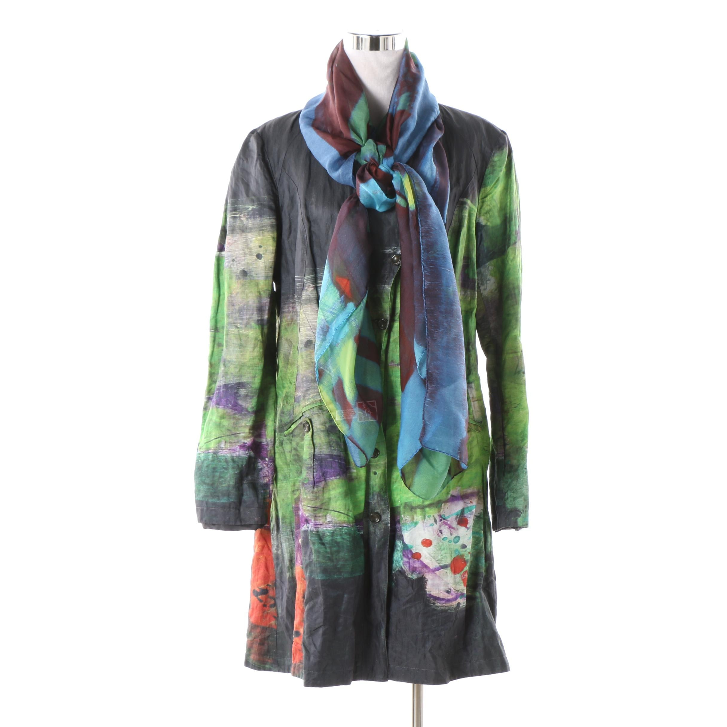 Adventures des Toiles French Designer Coat and Silk Scarf