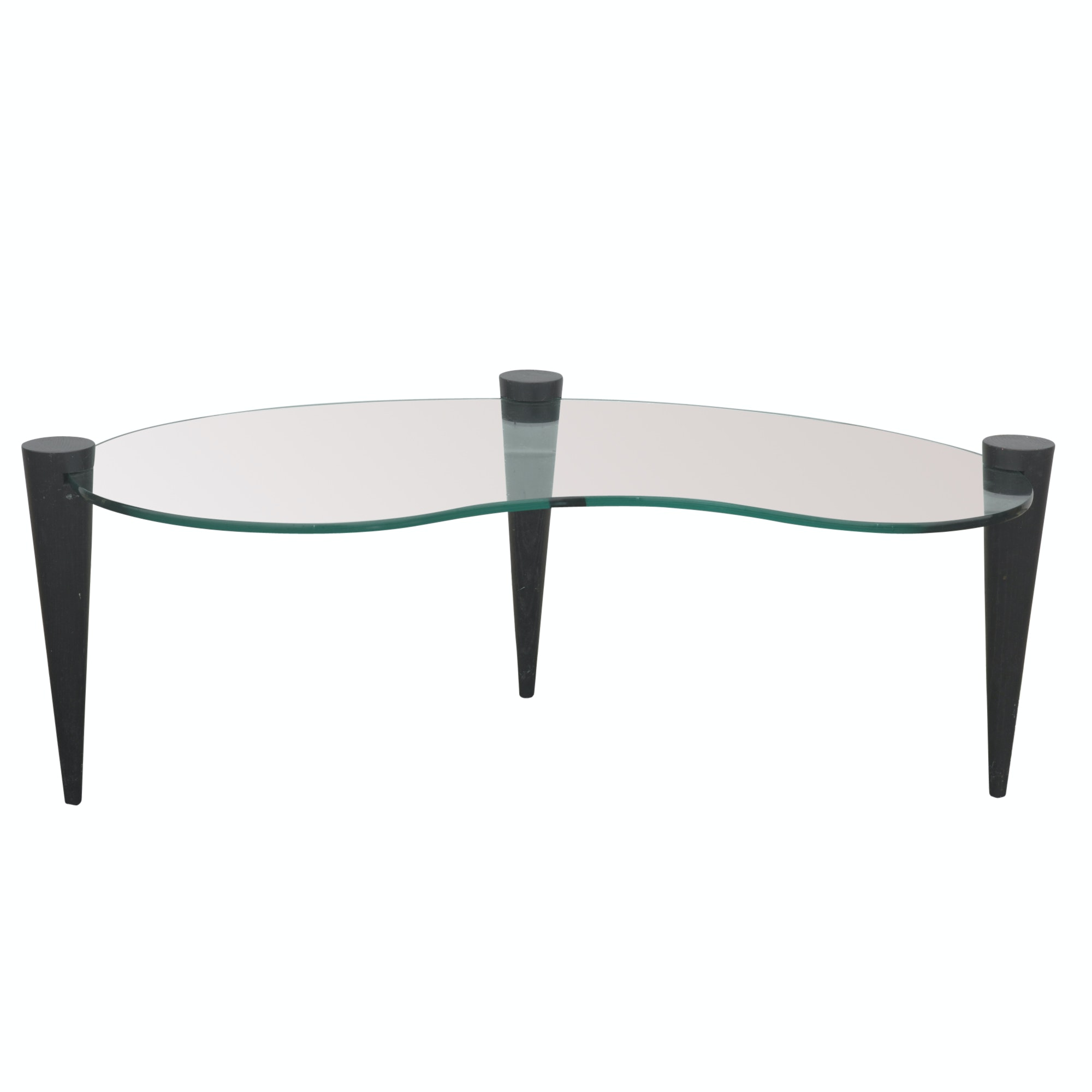 Kidney Bean Shaped Glass Coffee Table