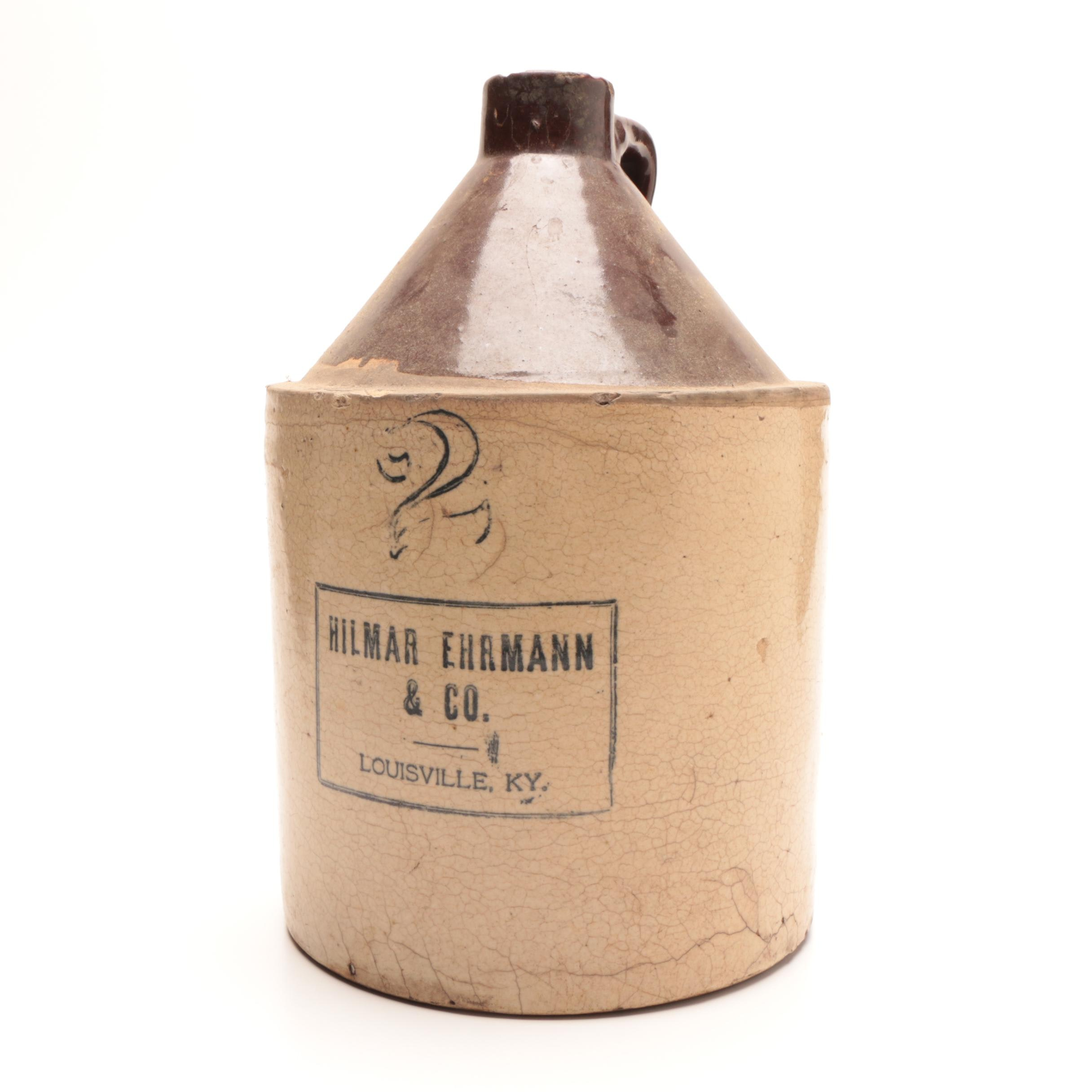 Antique Hilmar Ehrmann & Co. Louisville, Kentucky Stoneware Jug