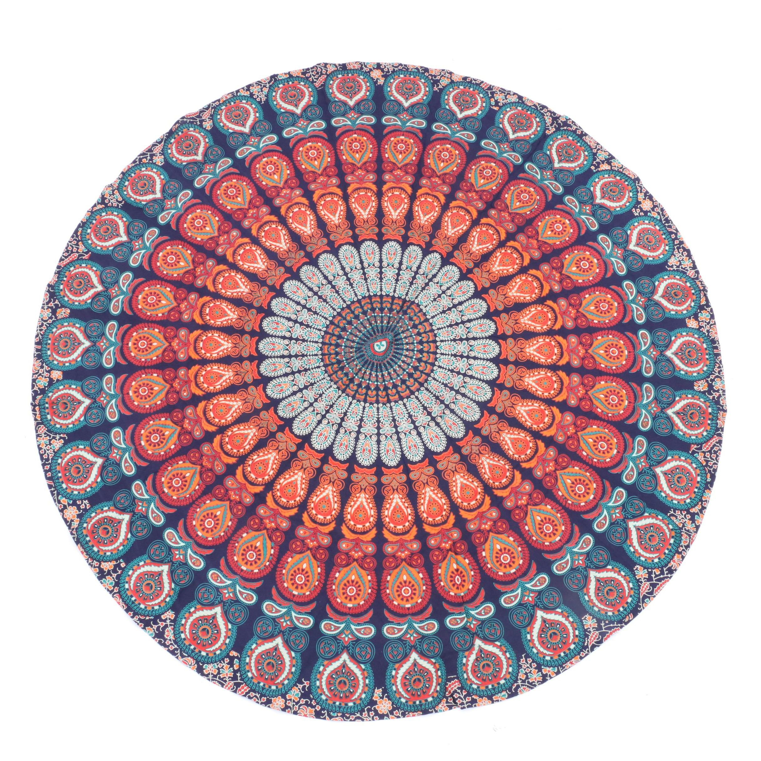 Round Indian Cotton Cover with Mandala