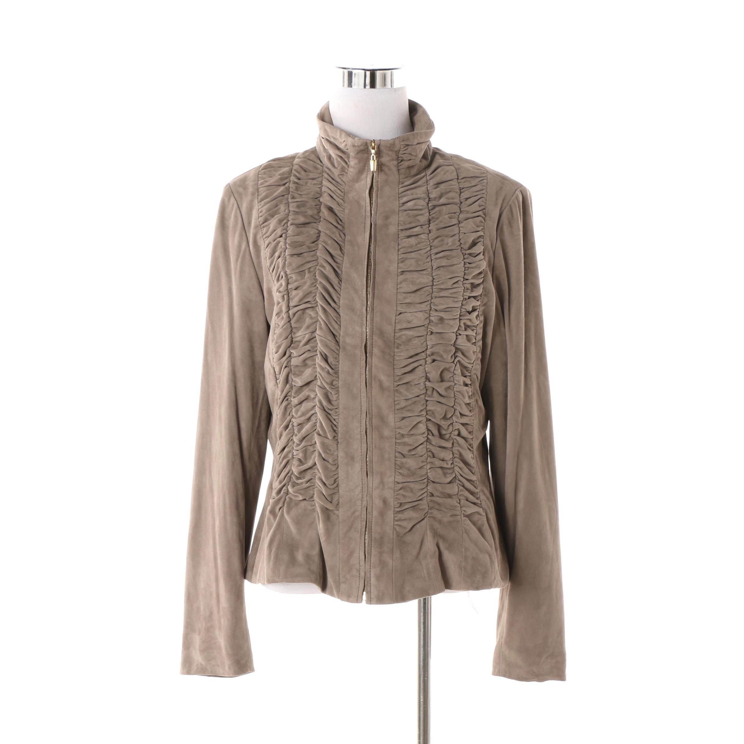 Women's St. John Ruched Goat Suede Jacket in Pewter