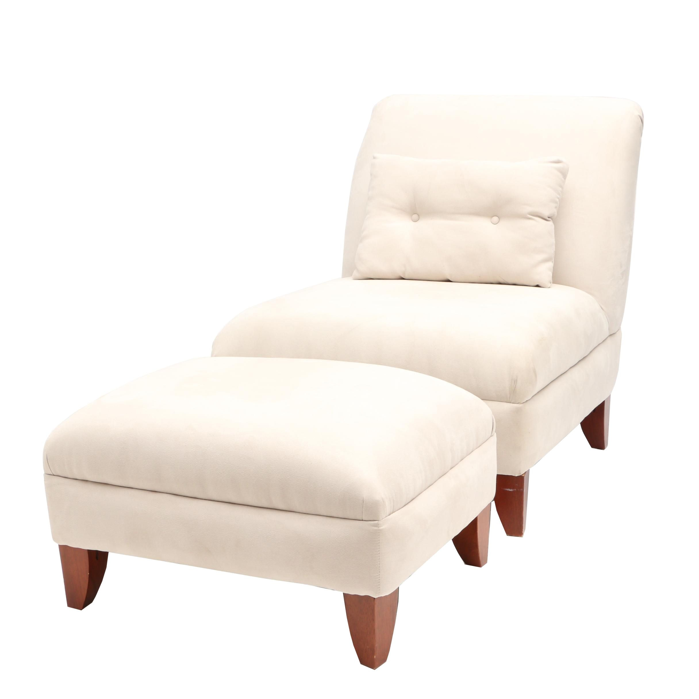 Contemporary Side Chair and Ottoman
